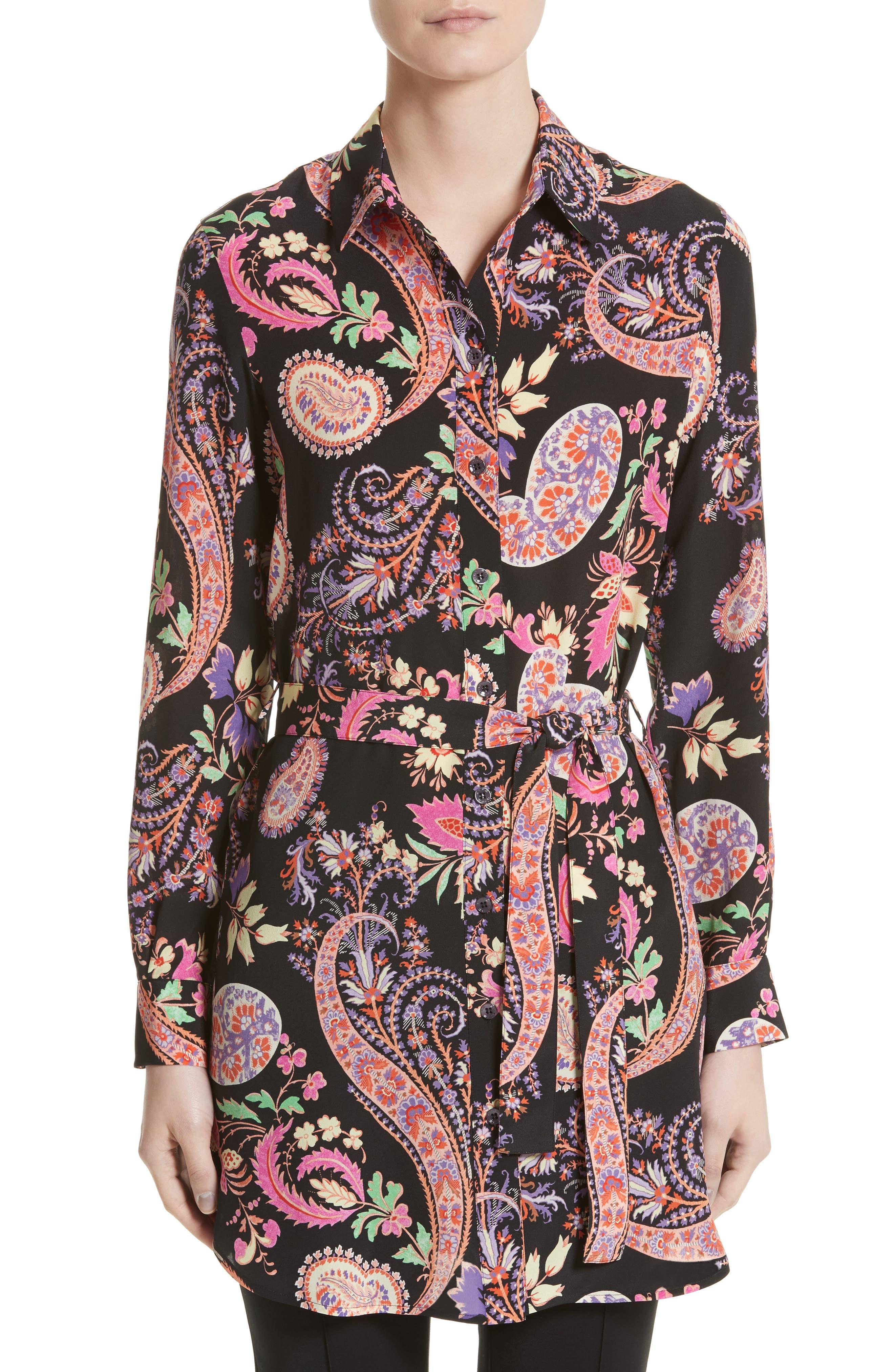Floral Paisley Print Silk Tunic,                             Main thumbnail 1, color,                             001
