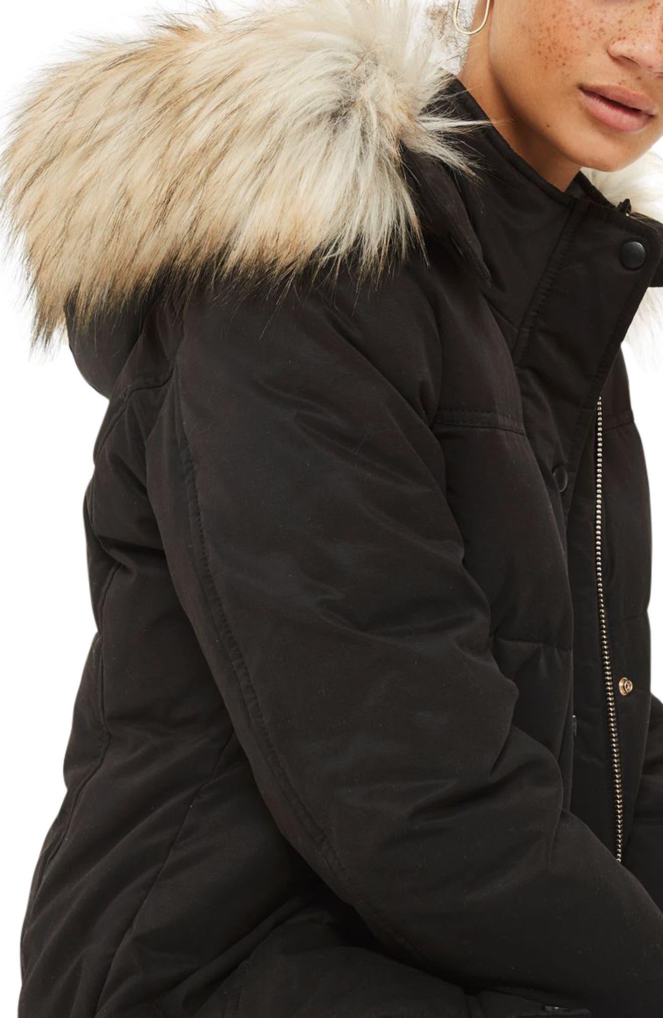 Jerry Faux Fur Trim Puffer Jacket,                             Alternate thumbnail 3, color,                             001