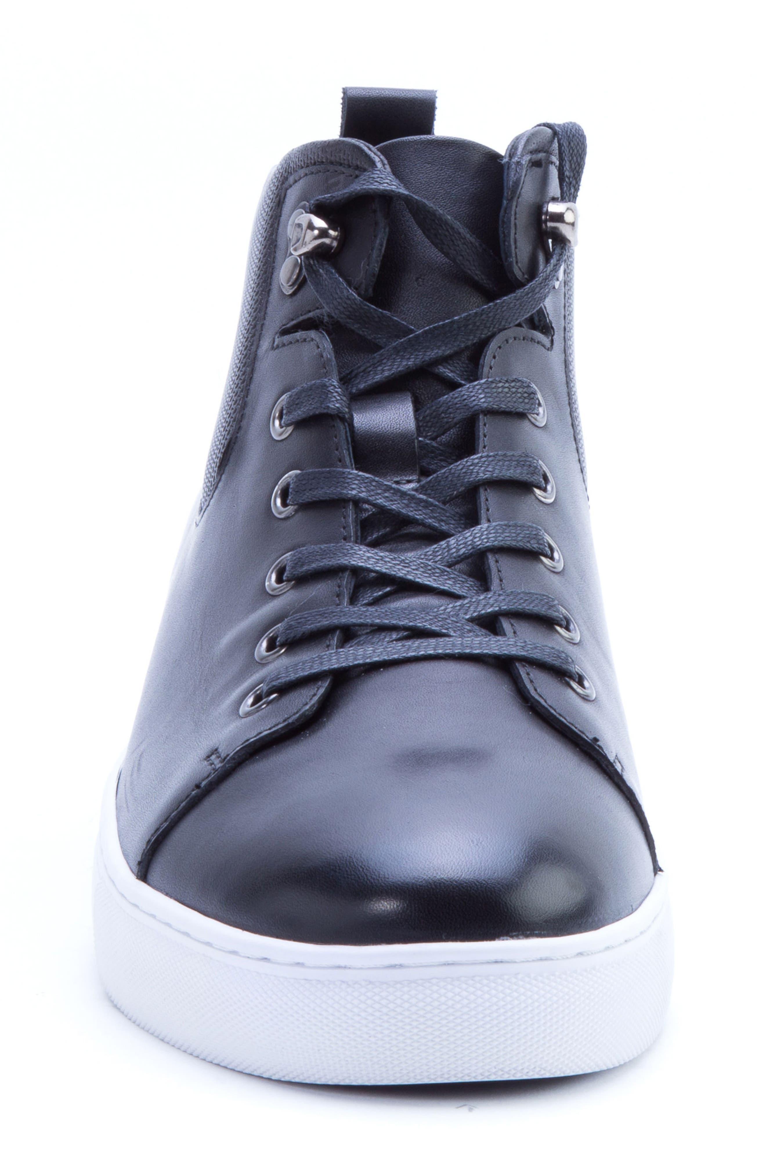 Sanders Sneaker,                             Alternate thumbnail 4, color,                             BLACK LEATHER