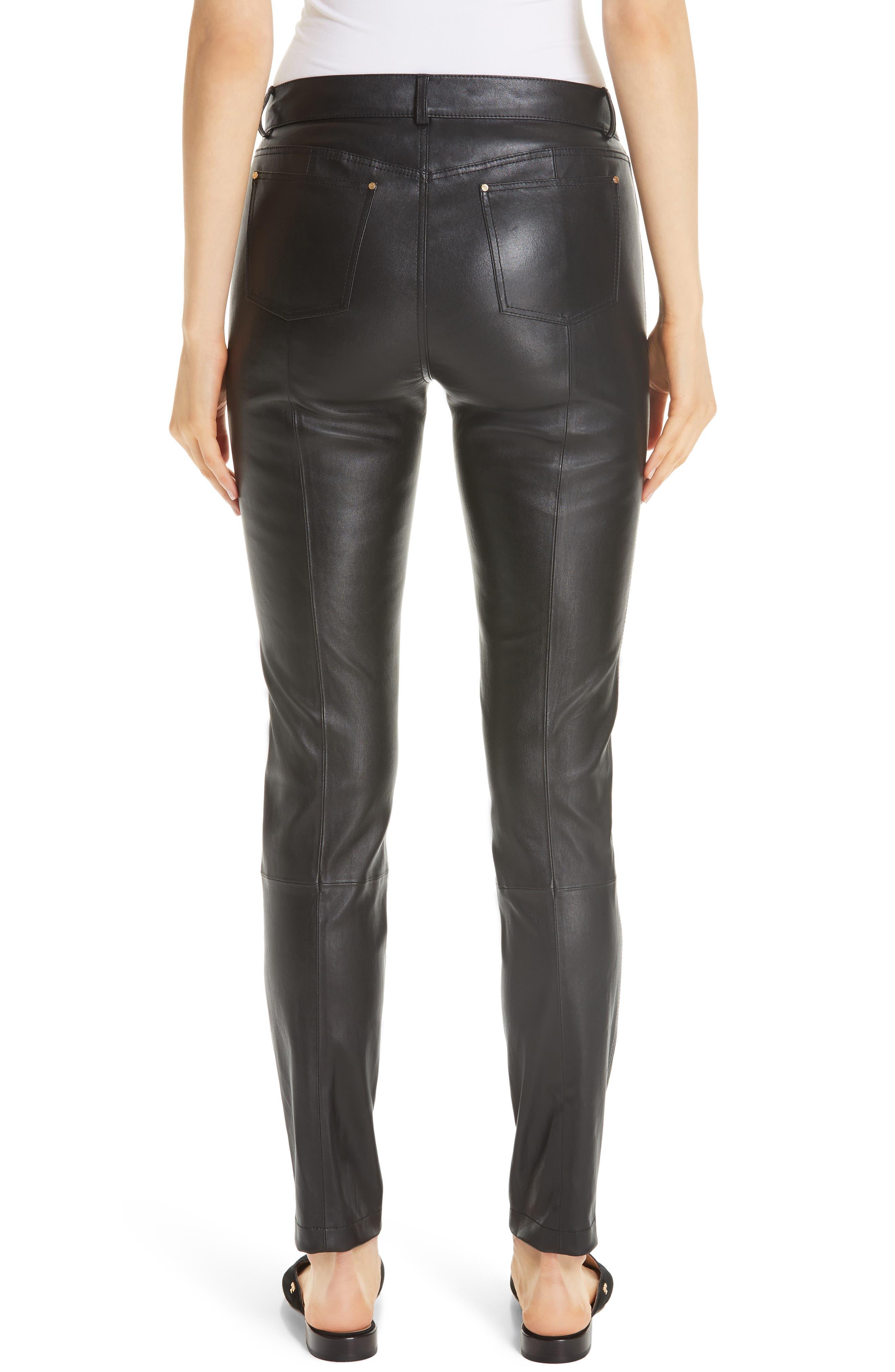 Mercer Nappa Leather Pants,                             Alternate thumbnail 2, color,                             BLACK
