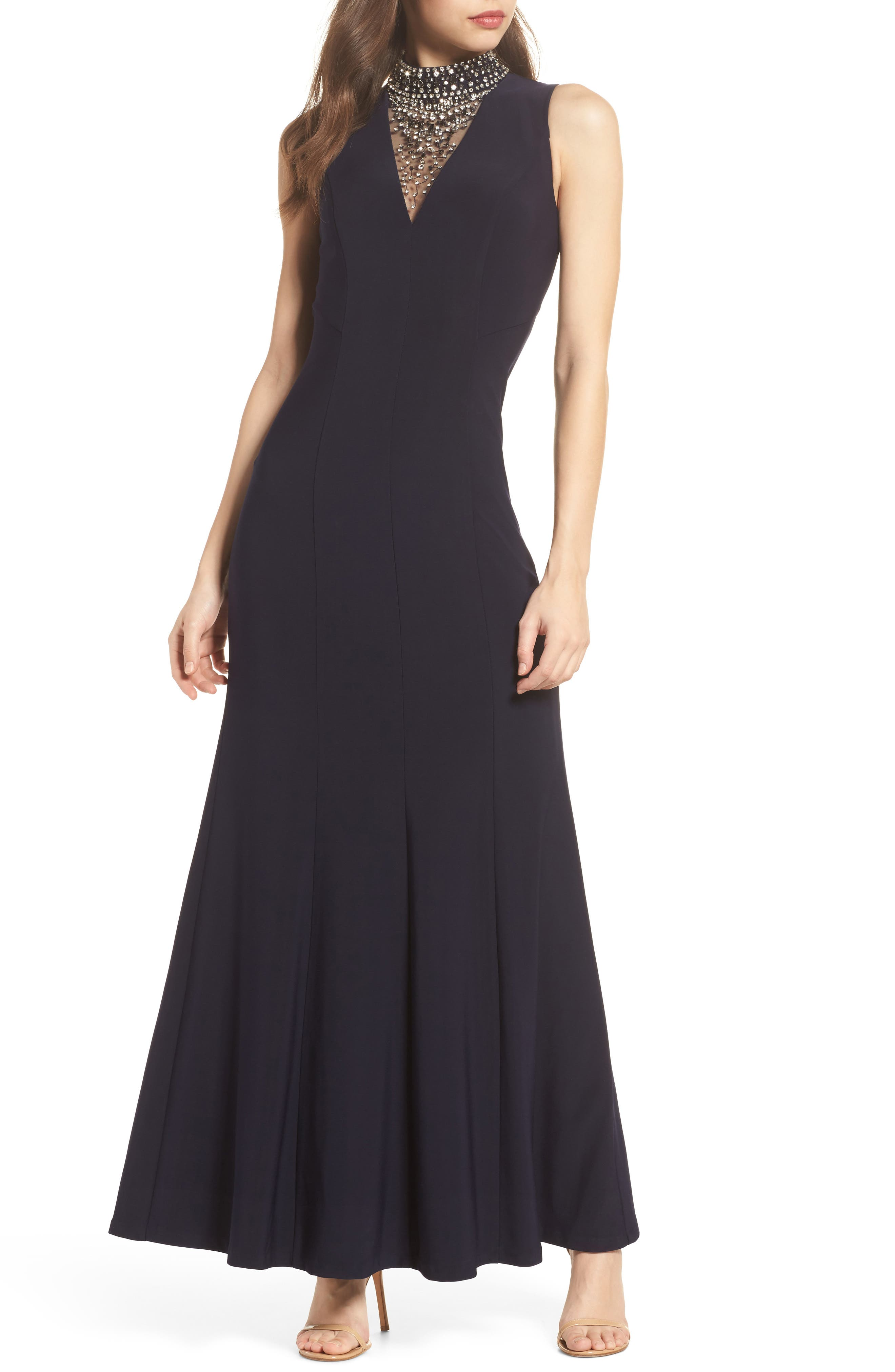 Embellished A-Line Gown,                         Main,                         color, 410
