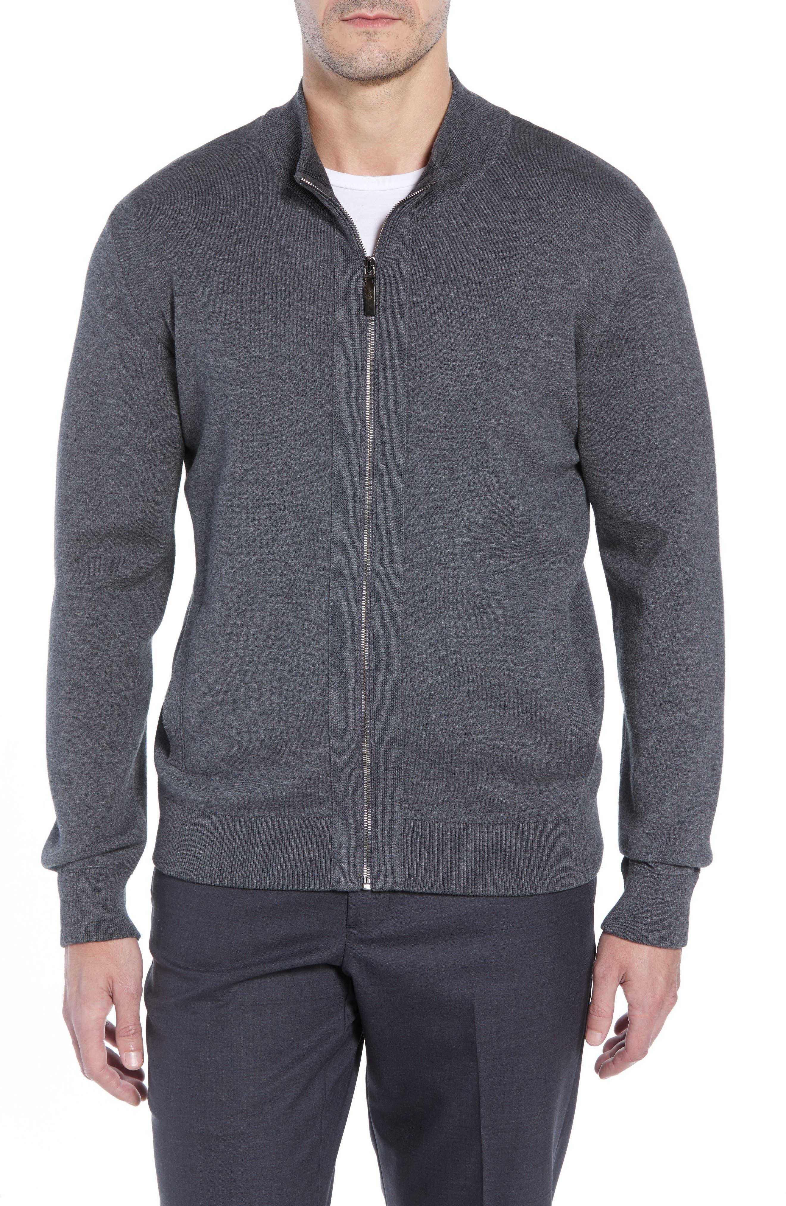 Corneliani Cotton Blend Zip Cardigan, US / 4 - Grey