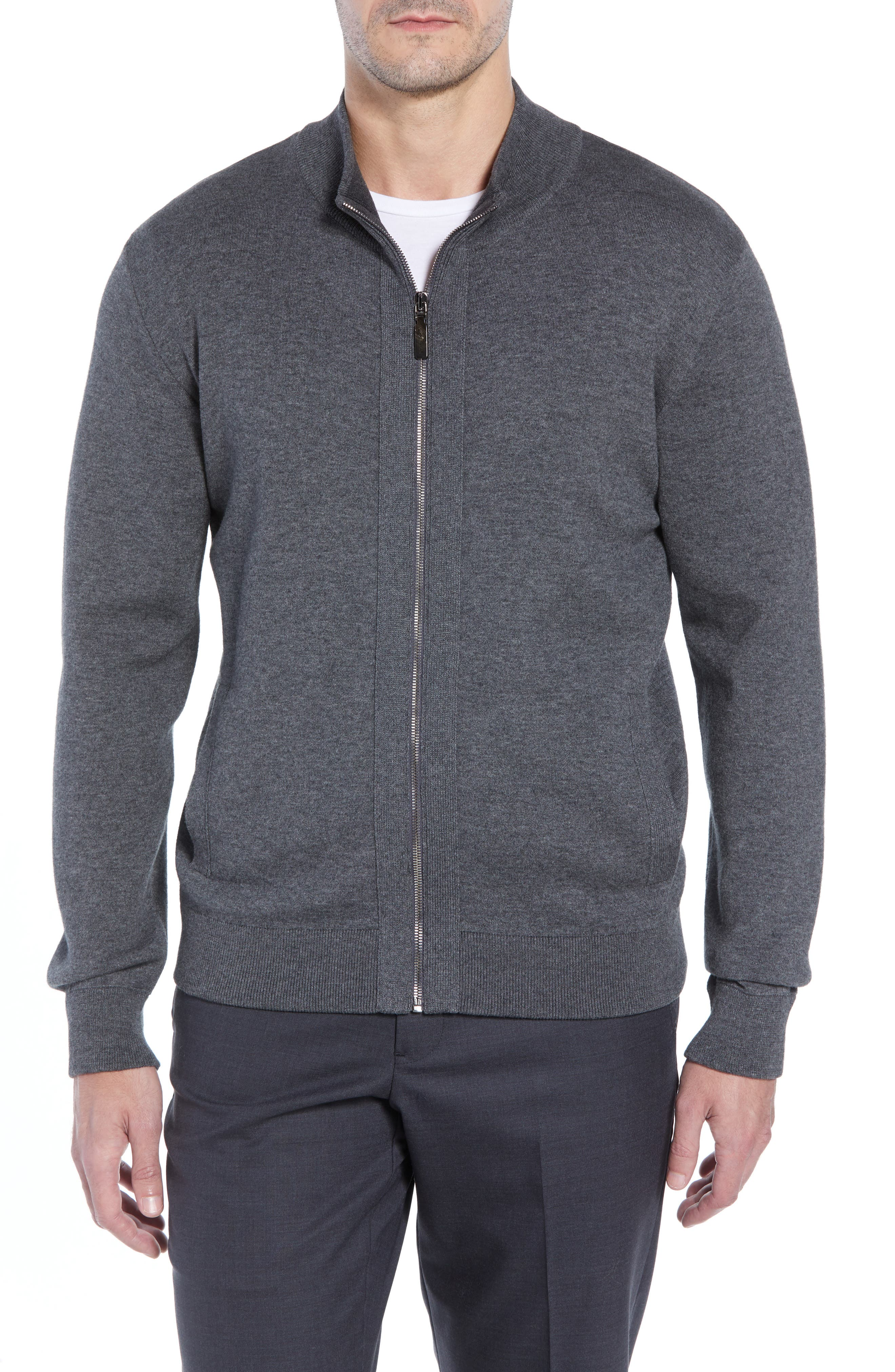 Cotton Blend Zip Cardigan,                         Main,                         color, GREY