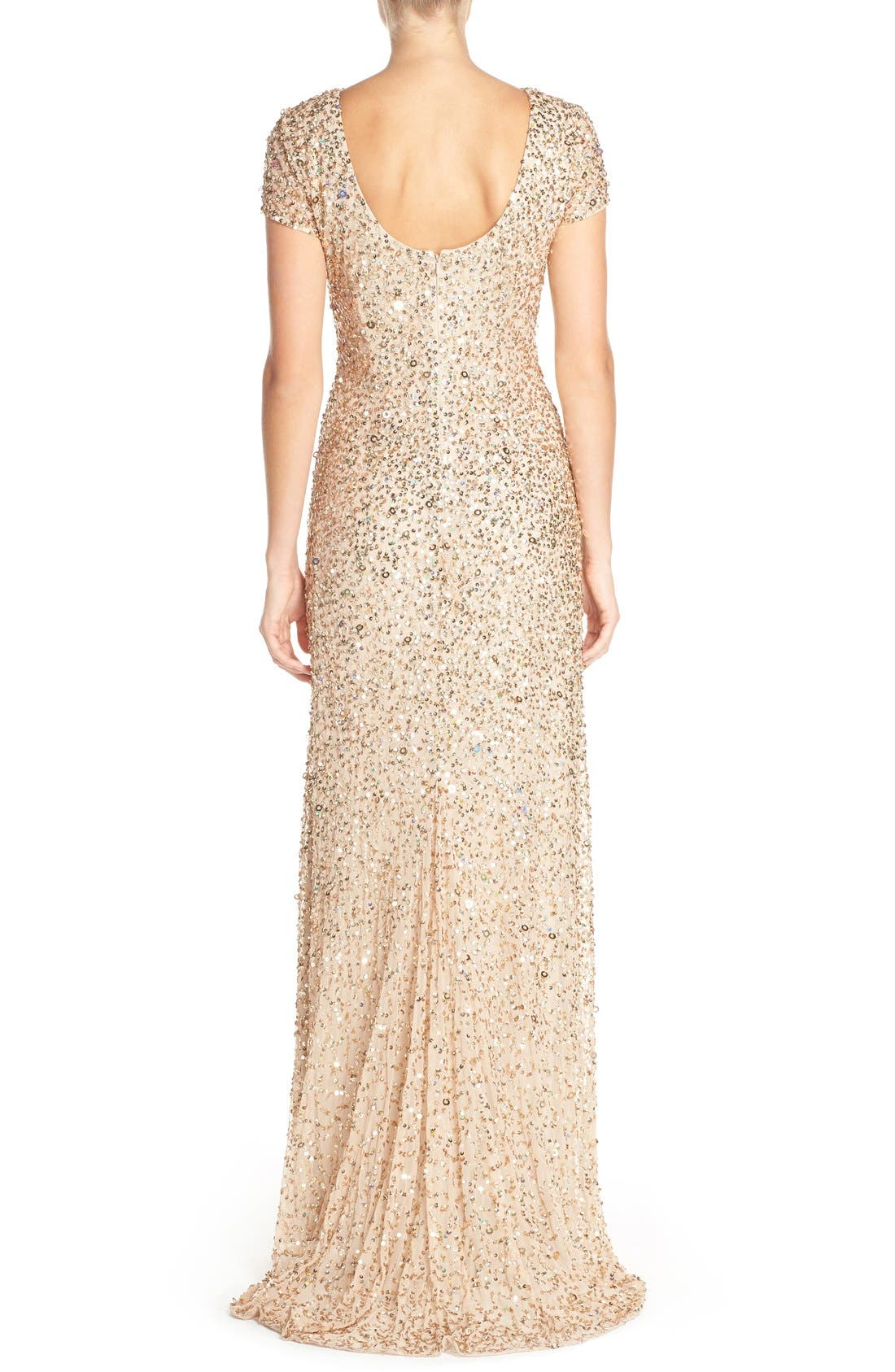Short Sleeve Sequin Mesh Gown,                             Alternate thumbnail 11, color,                             CHAMPAGNE/ GOLD