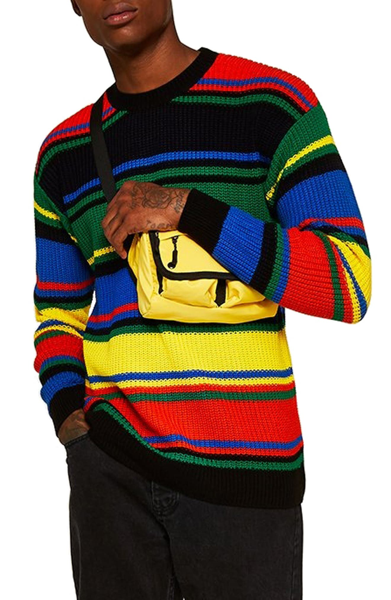 Rainbow Stripe Classic Fit Sweater,                         Main,                         color, GREEN MULTI