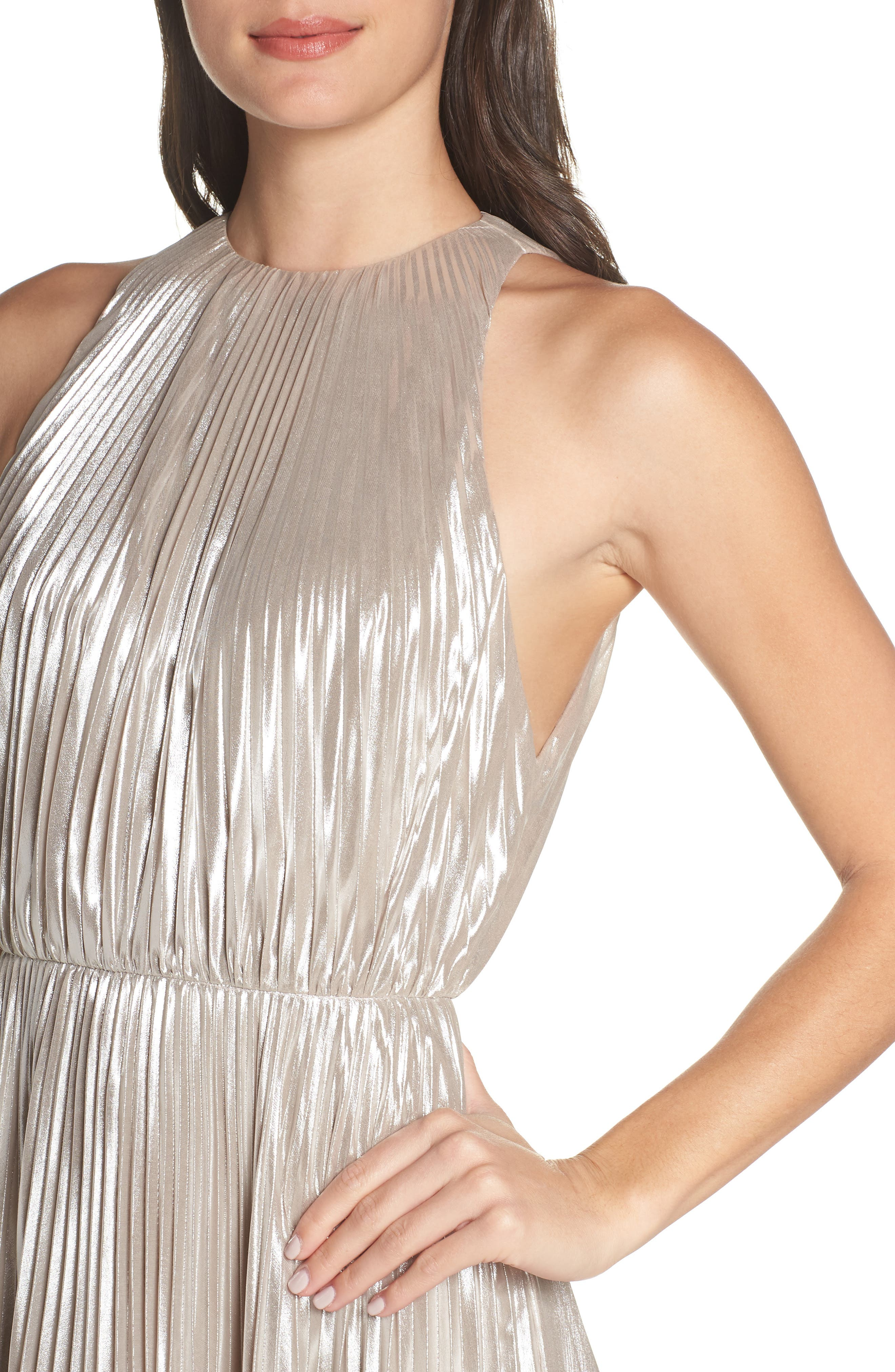 Pleated Metallic Dress,                             Alternate thumbnail 4, color,                             CHAMPAGNE