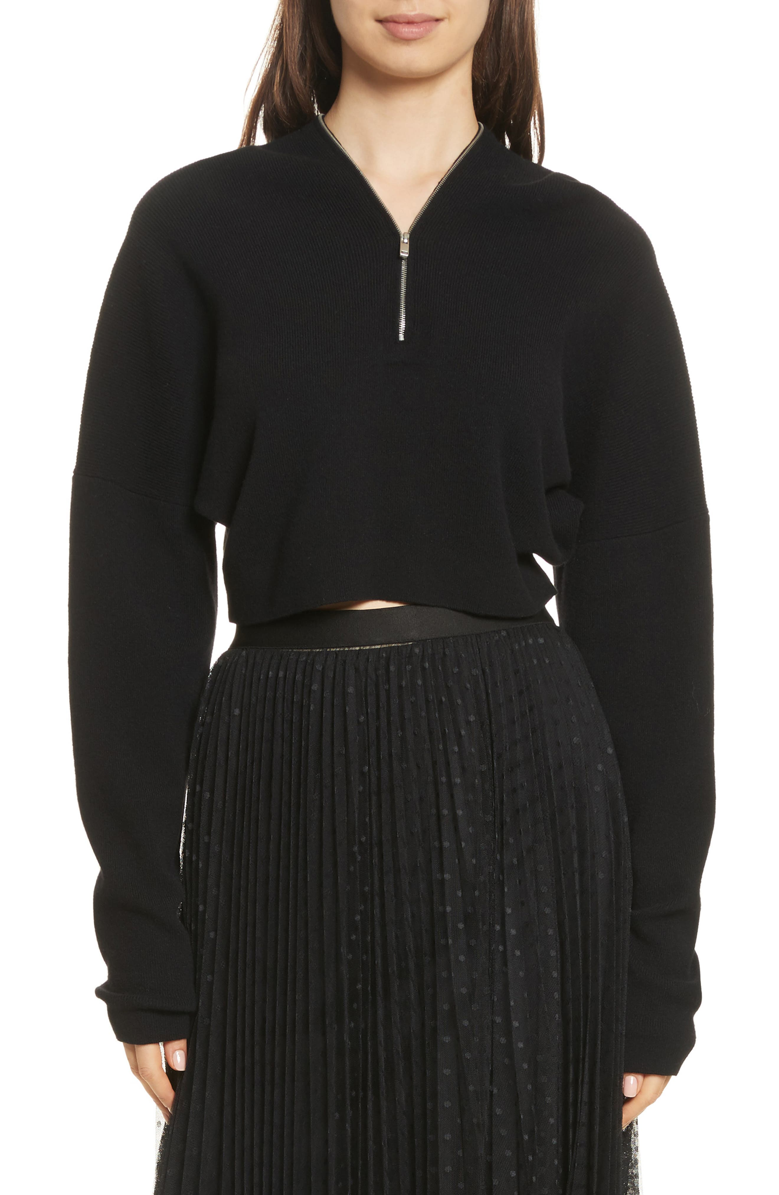 Wool & Cashmere Zip Neck Crop Sweater,                             Main thumbnail 1, color,                             001