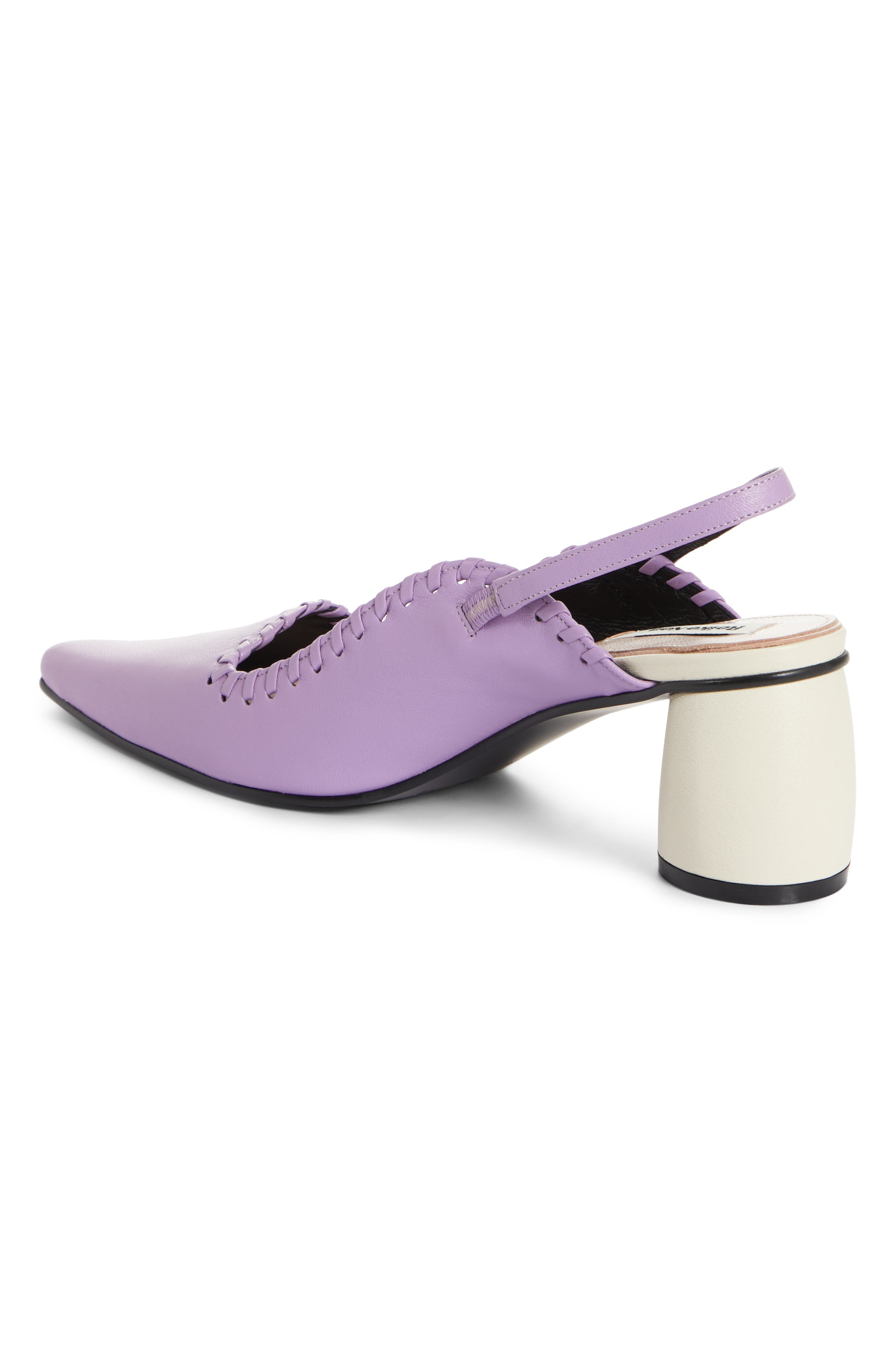 Curved Middle Slingback Pump,                             Alternate thumbnail 2, color,                             PURPLE IVORY