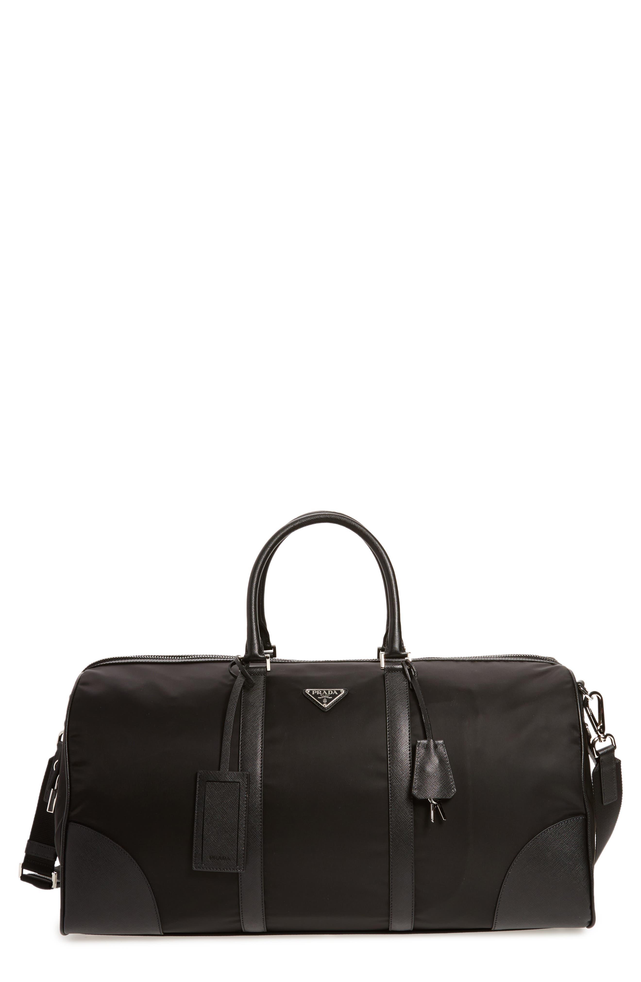 Nylon & Saffiano Leather Bowling Bag,                             Main thumbnail 1, color,                             001