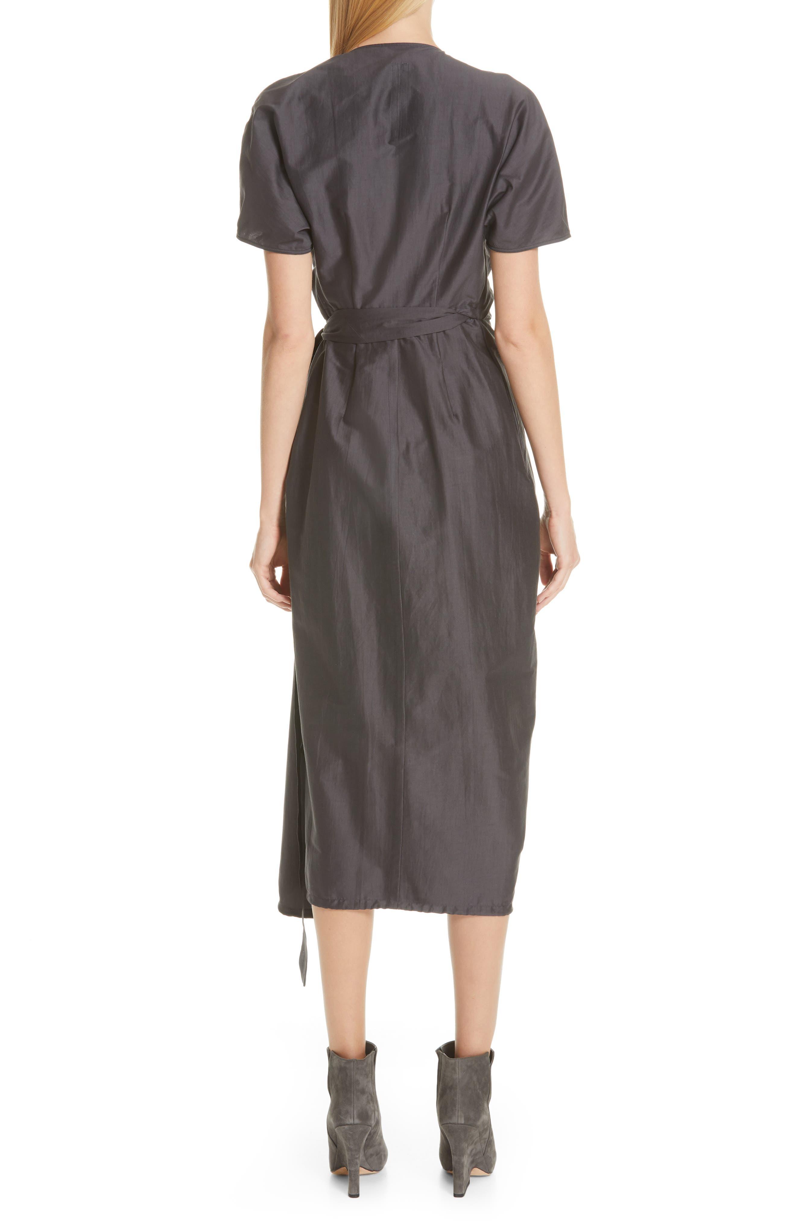 RICK OWENS,                             Limo Cotton & Silk Wrap Dress,                             Alternate thumbnail 2, color,                             BLUE JAY