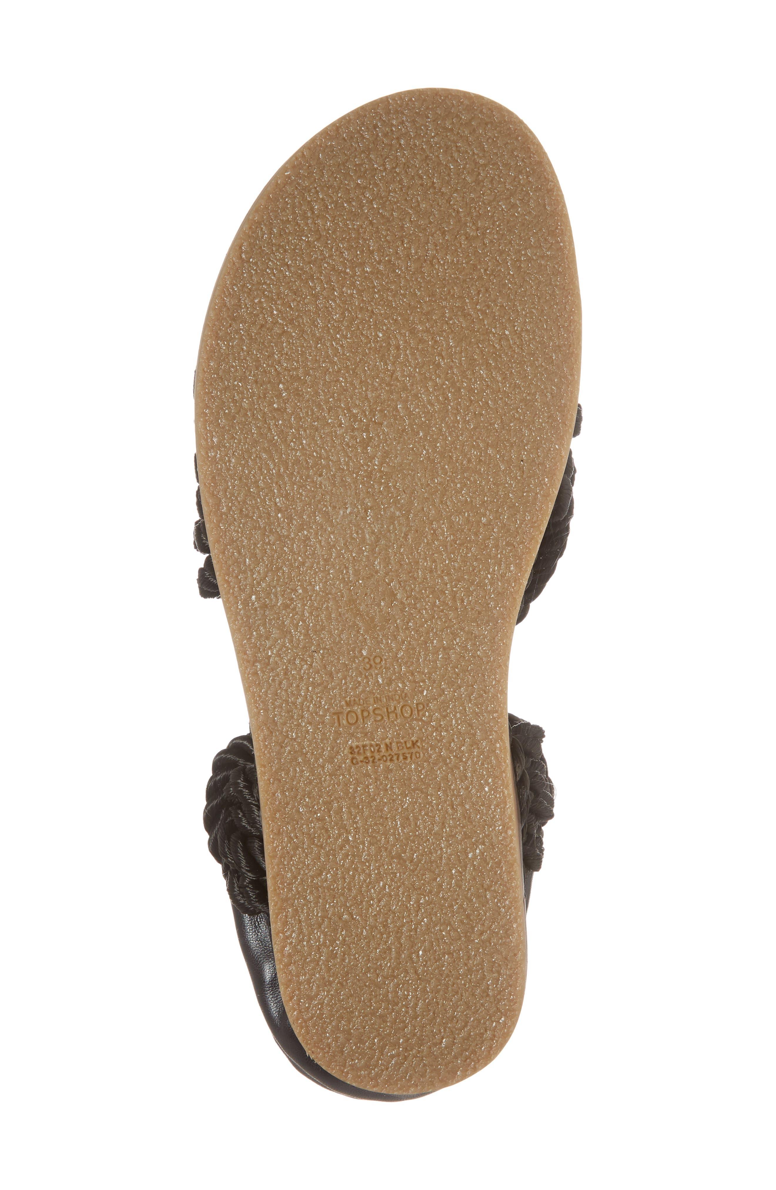 Fiesta Rope Flat Sandal,                             Alternate thumbnail 6, color,                             001