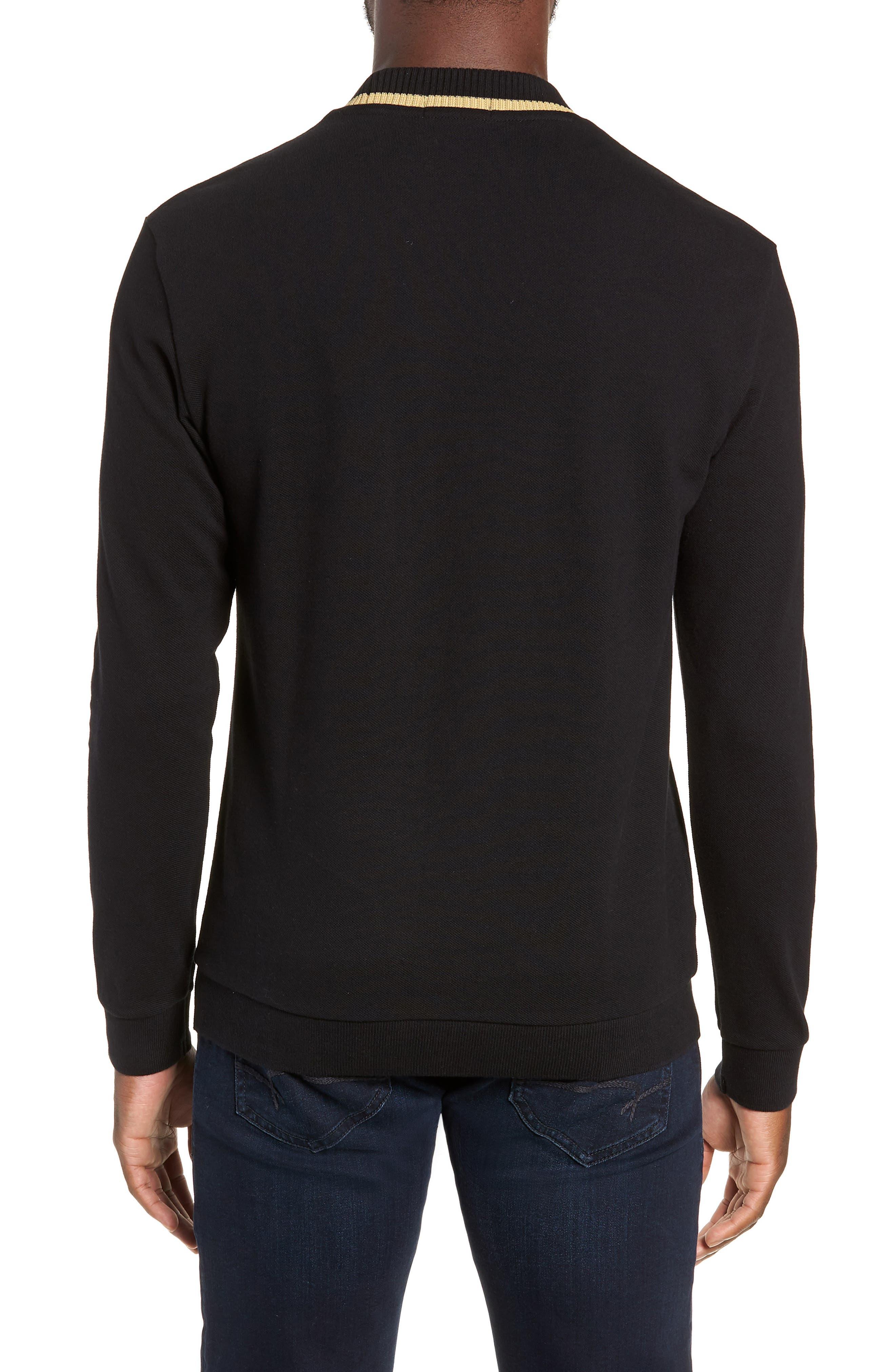 Long Sleeve Piqué T-Shirt,                             Alternate thumbnail 2, color,                             BLACK / CHAMPAGNE