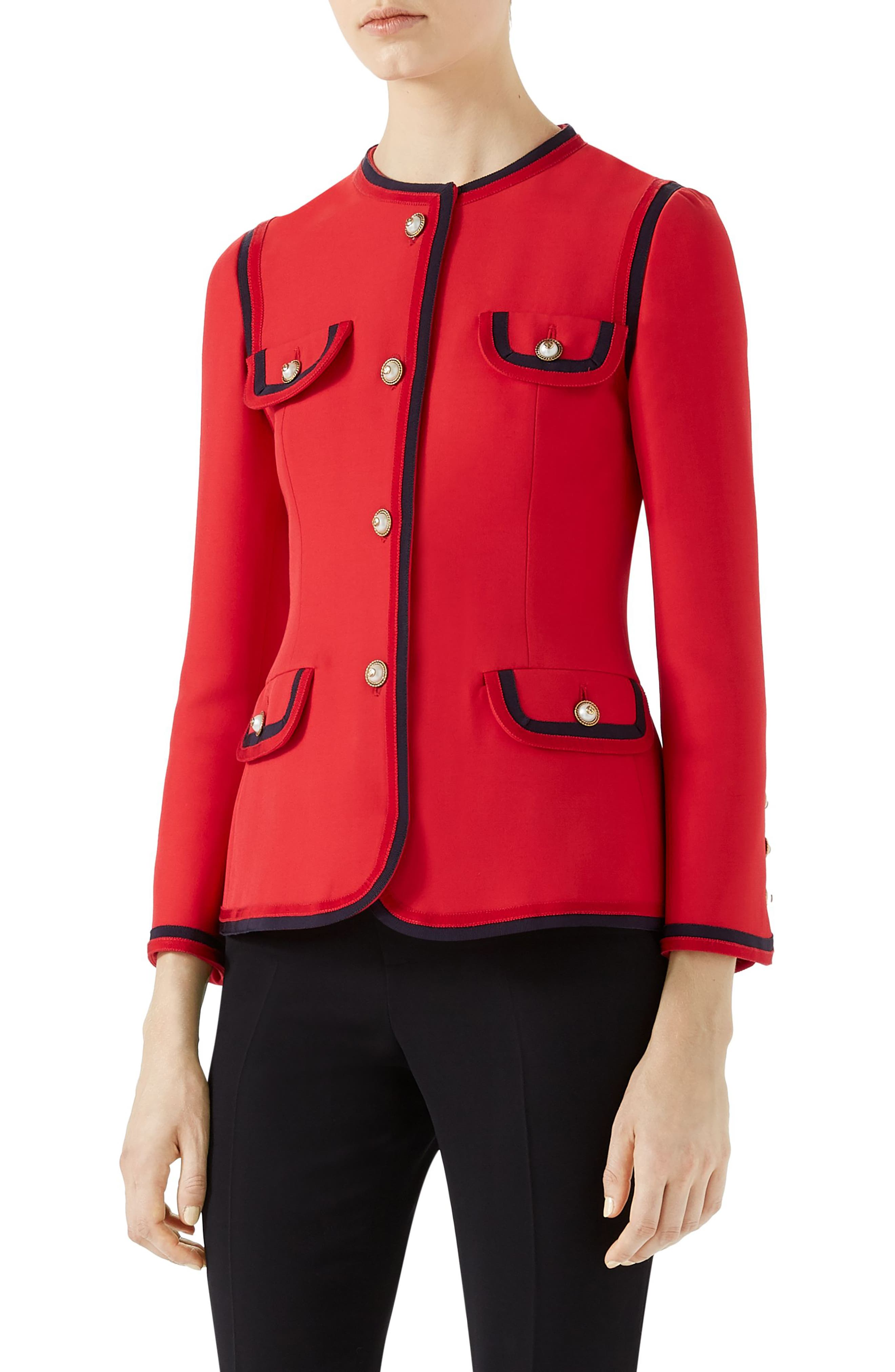 Silk & Wool Crepe Cady Jacket,                         Main,                         color, BRIGHT RED