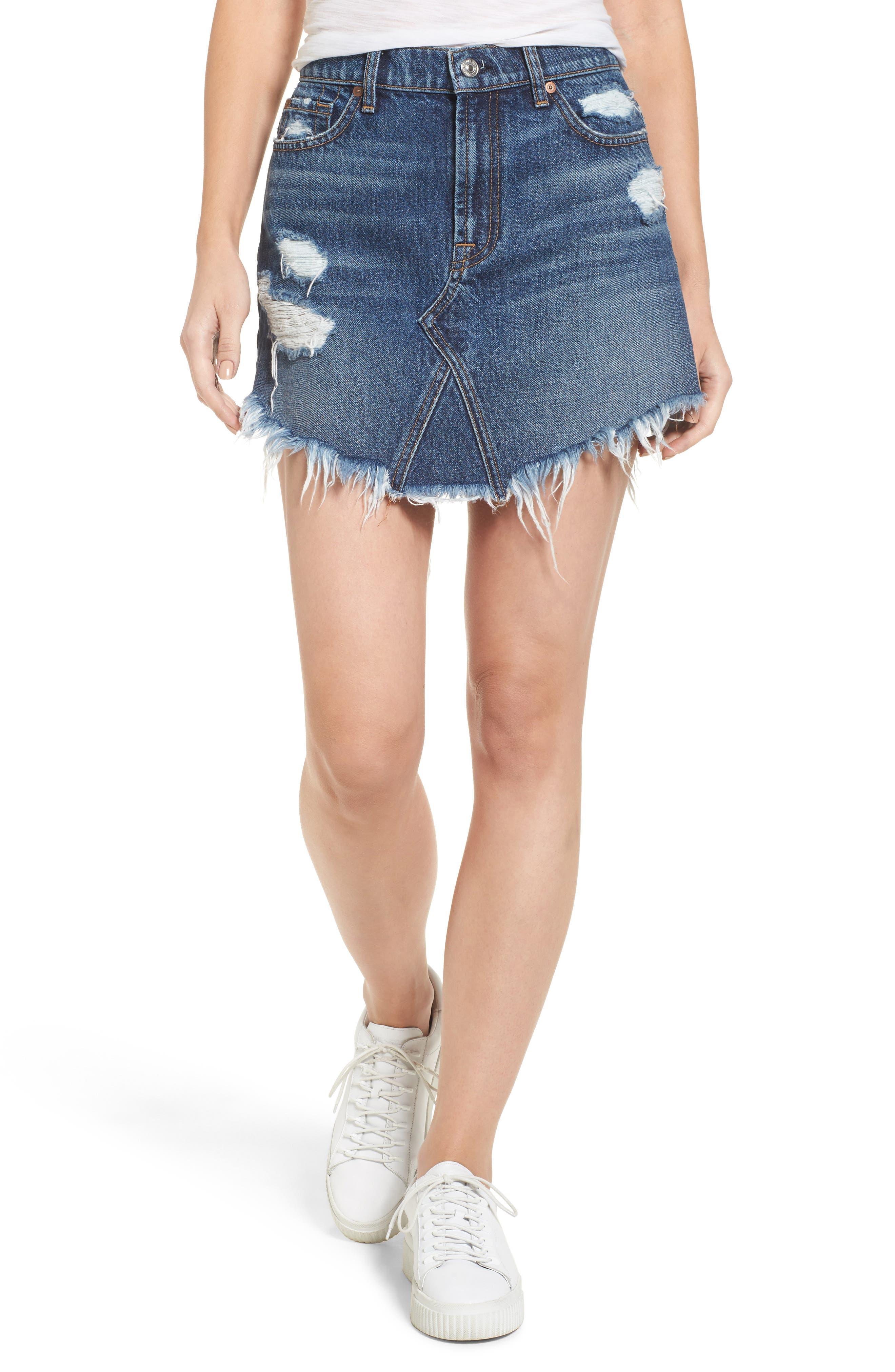 Denim Miniskirt,                         Main,                         color, 400