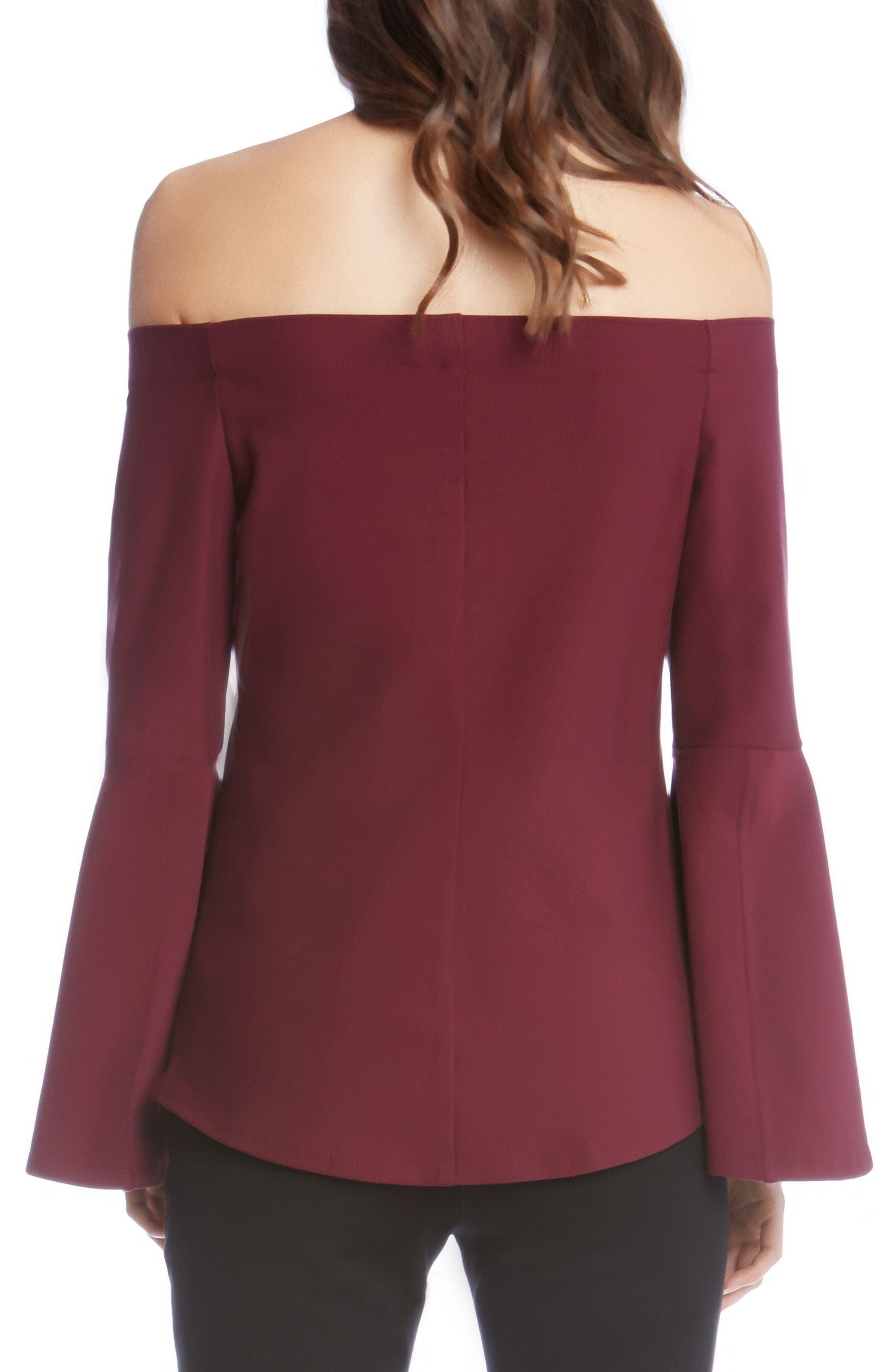 Off the Shoulder Bell Sleeve Top,                             Alternate thumbnail 2, color,                             930