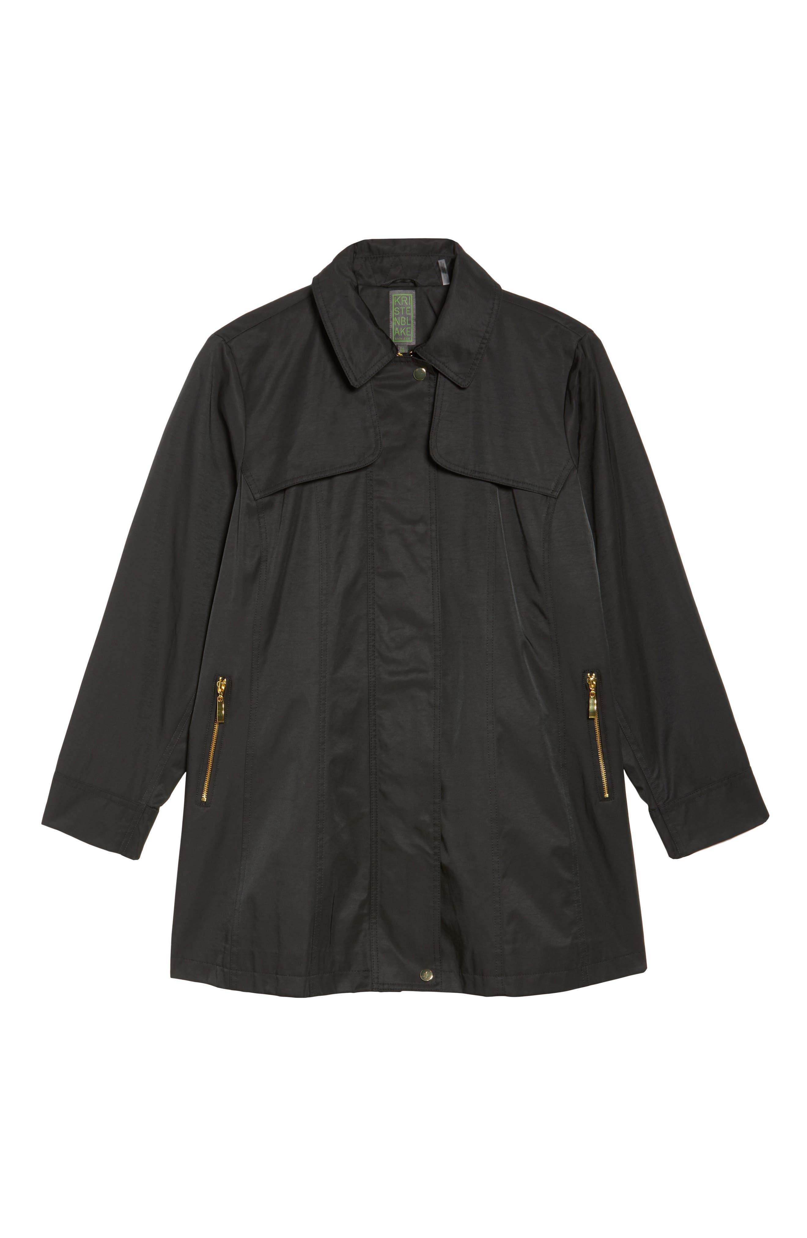 Packable Fit & Flare Raincoat,                             Alternate thumbnail 5, color,                             BLACK