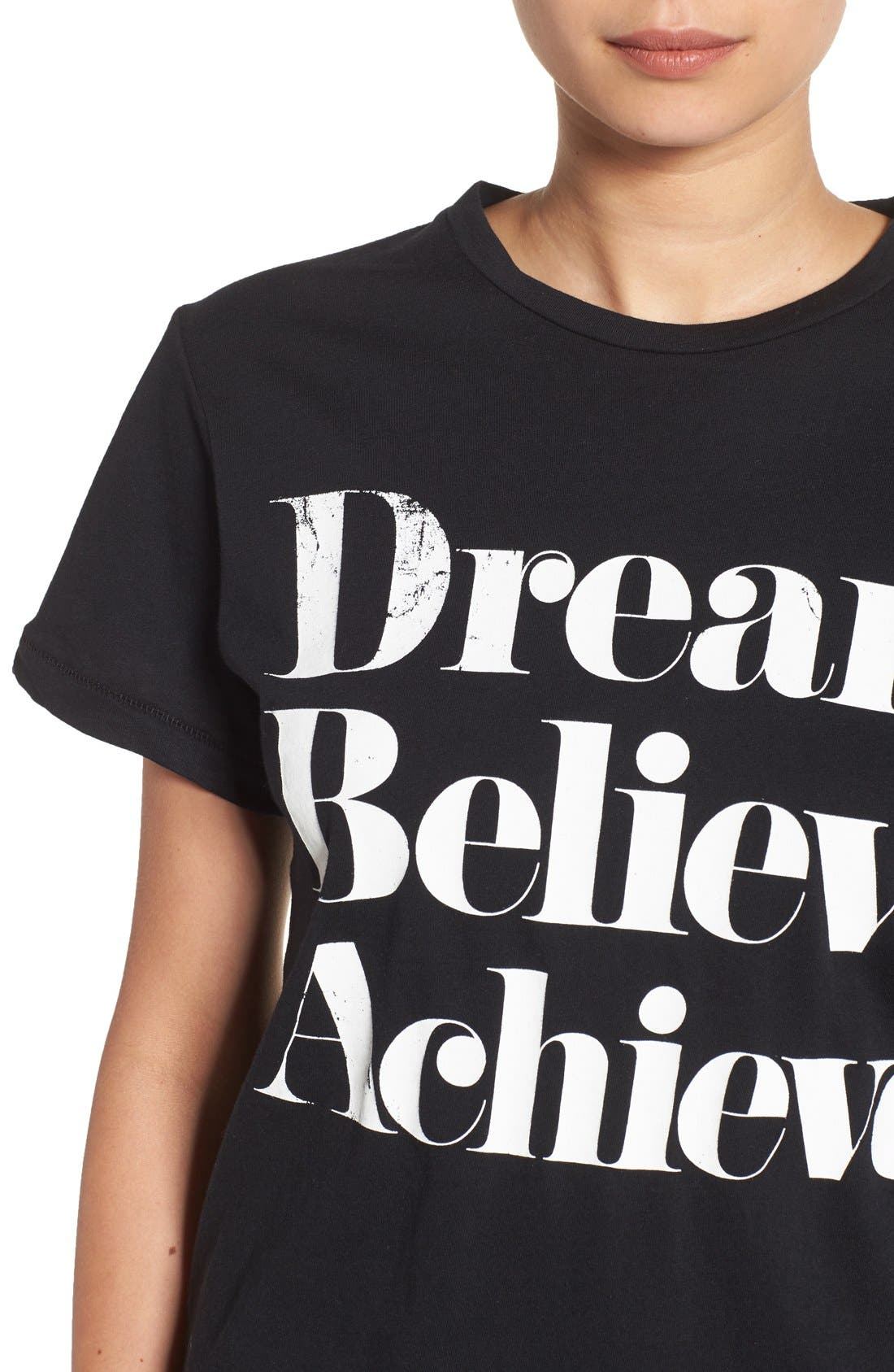 'Dream Believe Achieve' Graphic Tee,                             Alternate thumbnail 4, color,                             001