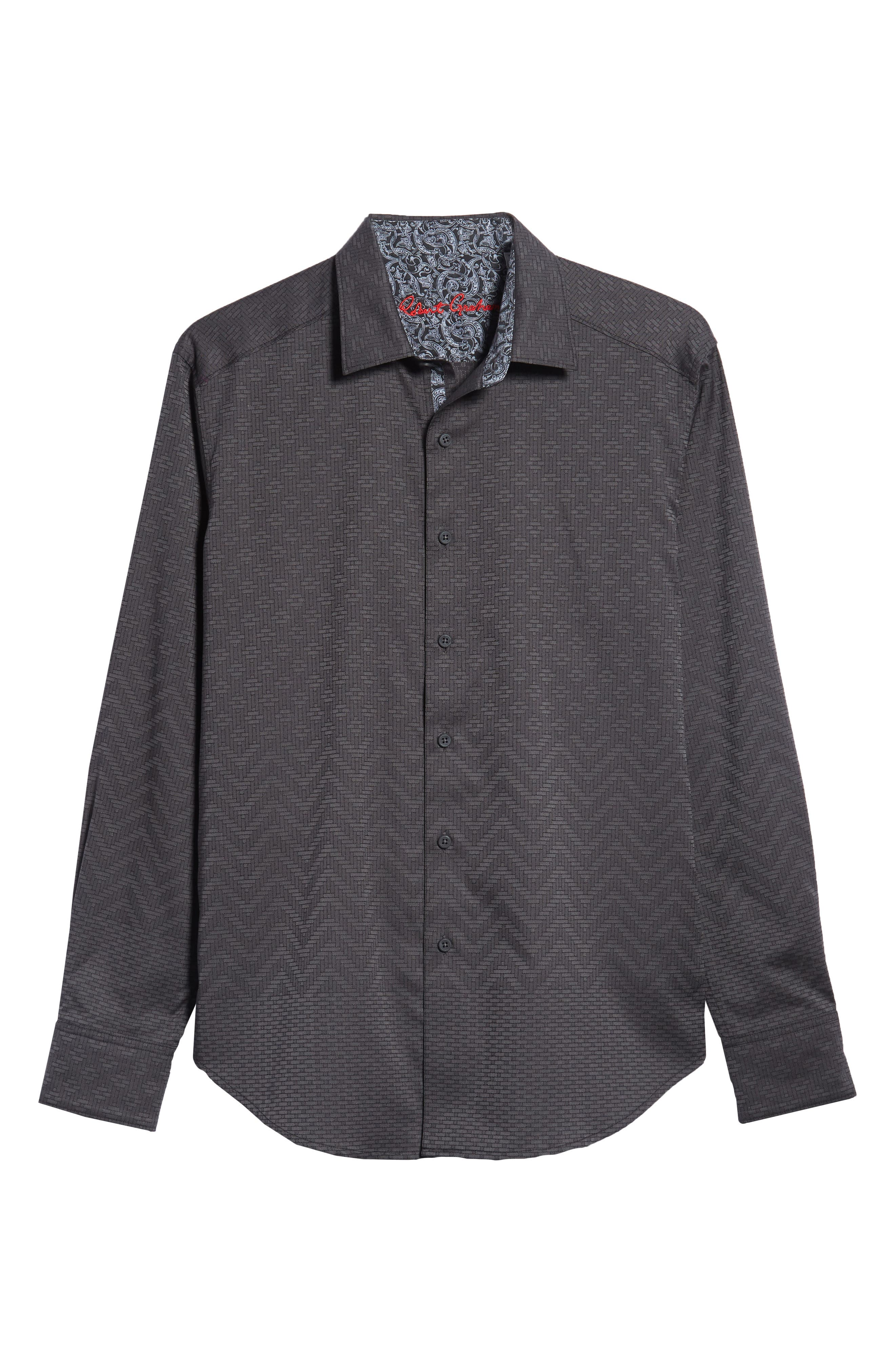 Wallace Classic Fit Sport Shirt,                             Alternate thumbnail 5, color,                             GREY