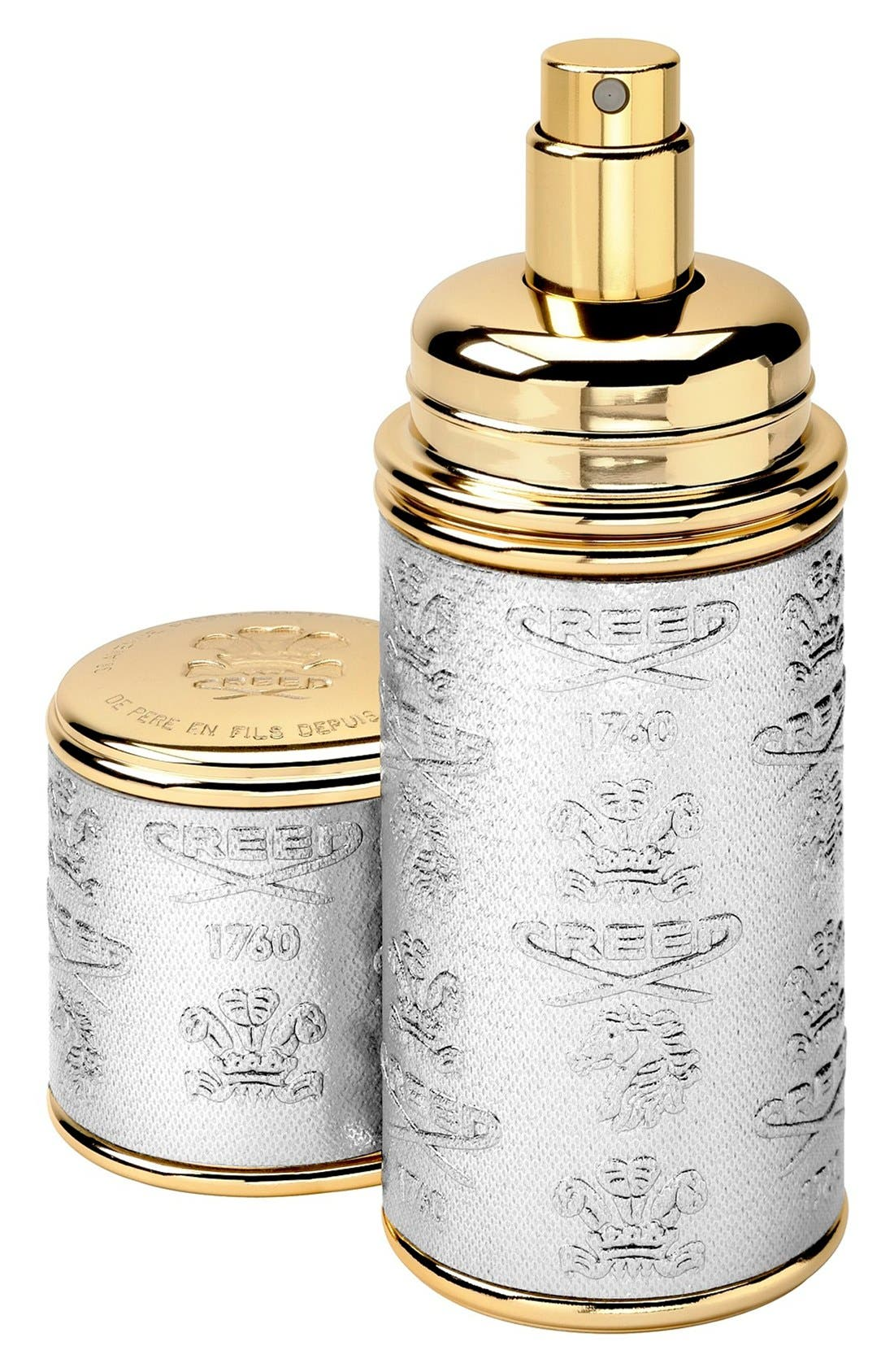 Silver with Gold Trim Leather Atomizer,                         Main,                         color, 000
