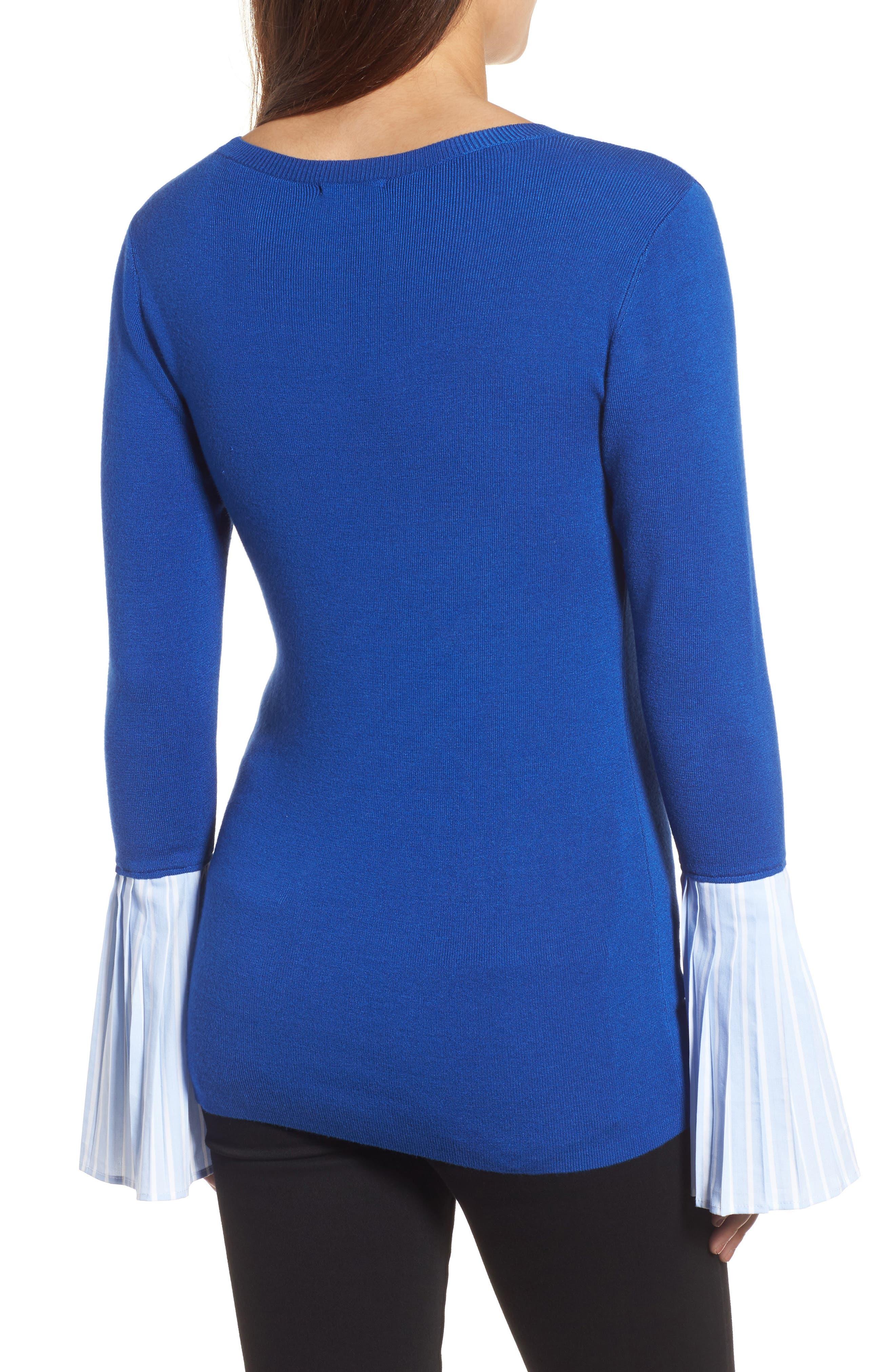 Poplin Bell Cuff Sweater,                             Alternate thumbnail 7, color,
