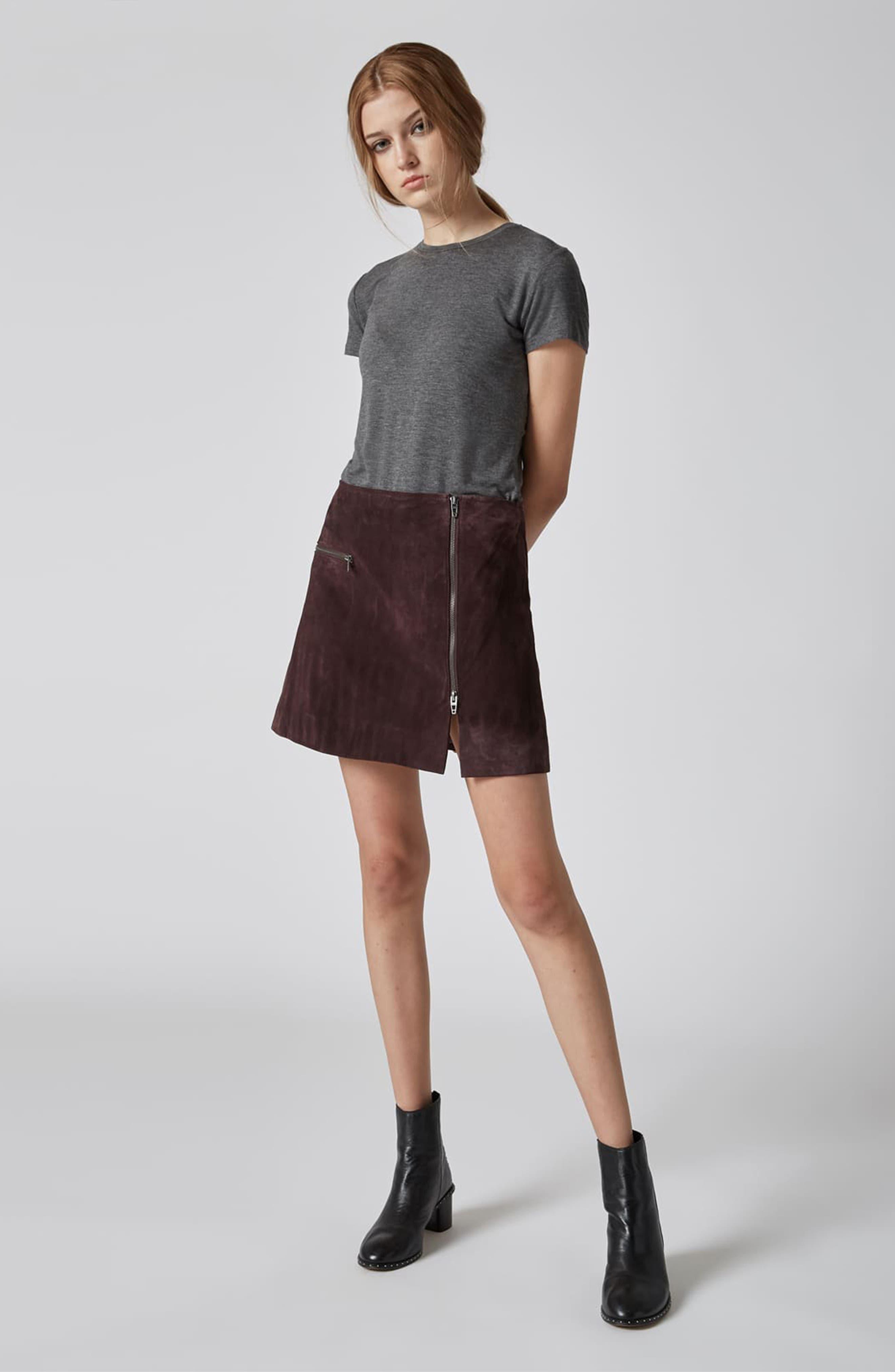 Suede Miniskirt,                             Alternate thumbnail 4, color,                             BLACKBERRY