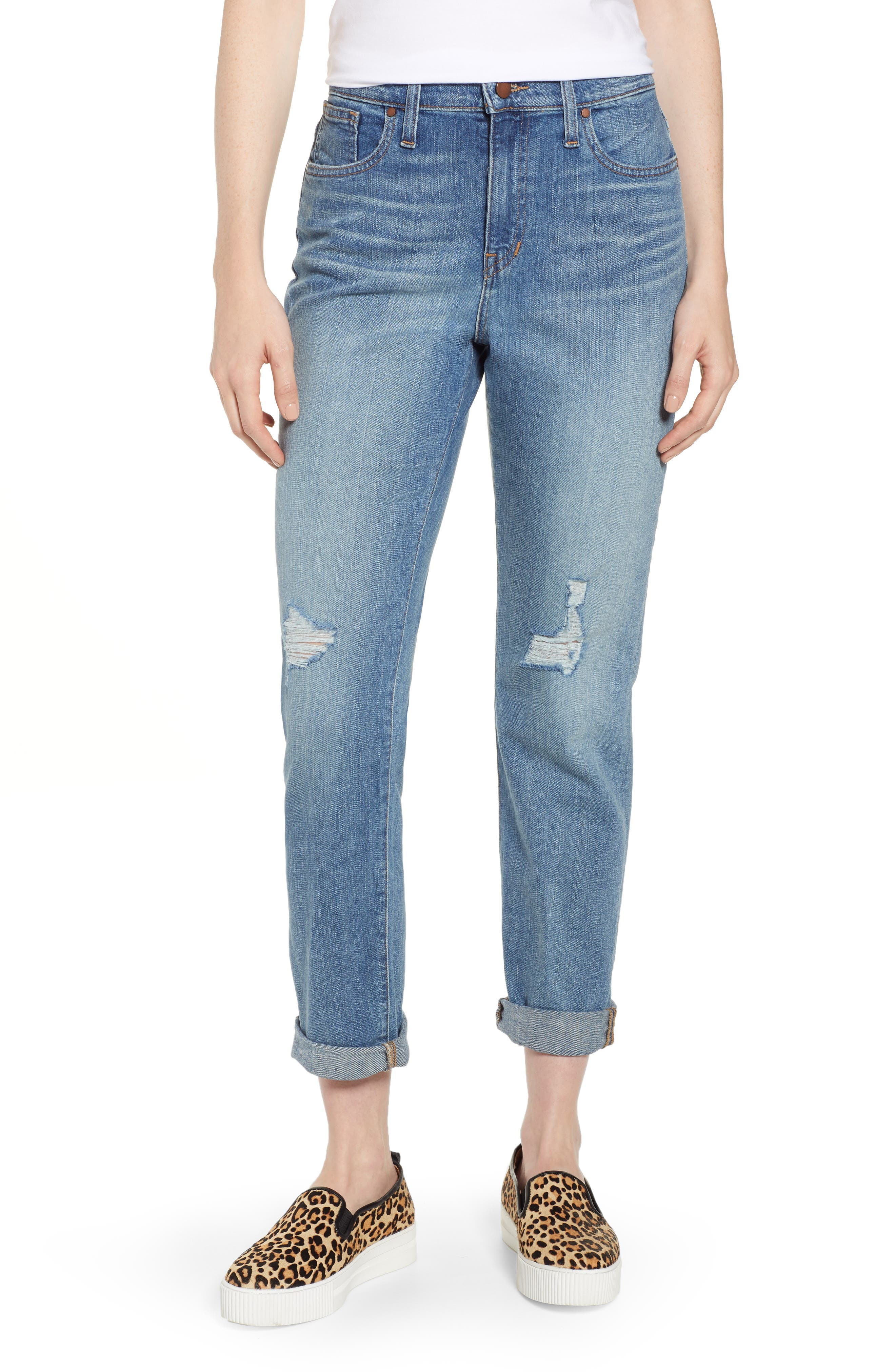 CASLON<SUP>®</SUP> Arden Ripped High Waist Boyfriend Jeans, Main, color, 420