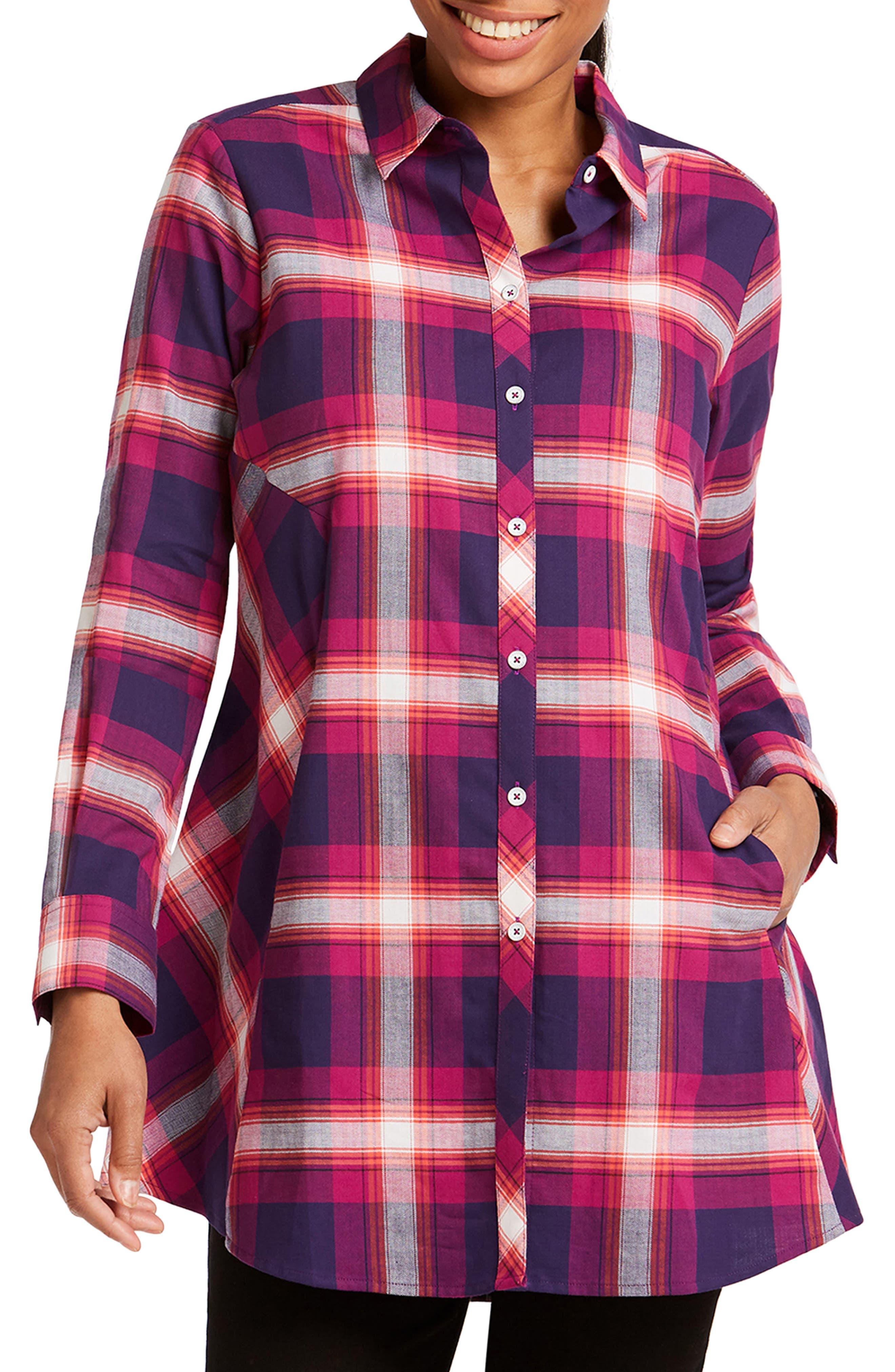Cici Tartan Plaid Brushed Cotton Blend Tunic Top,                             Main thumbnail 1, color,                             001