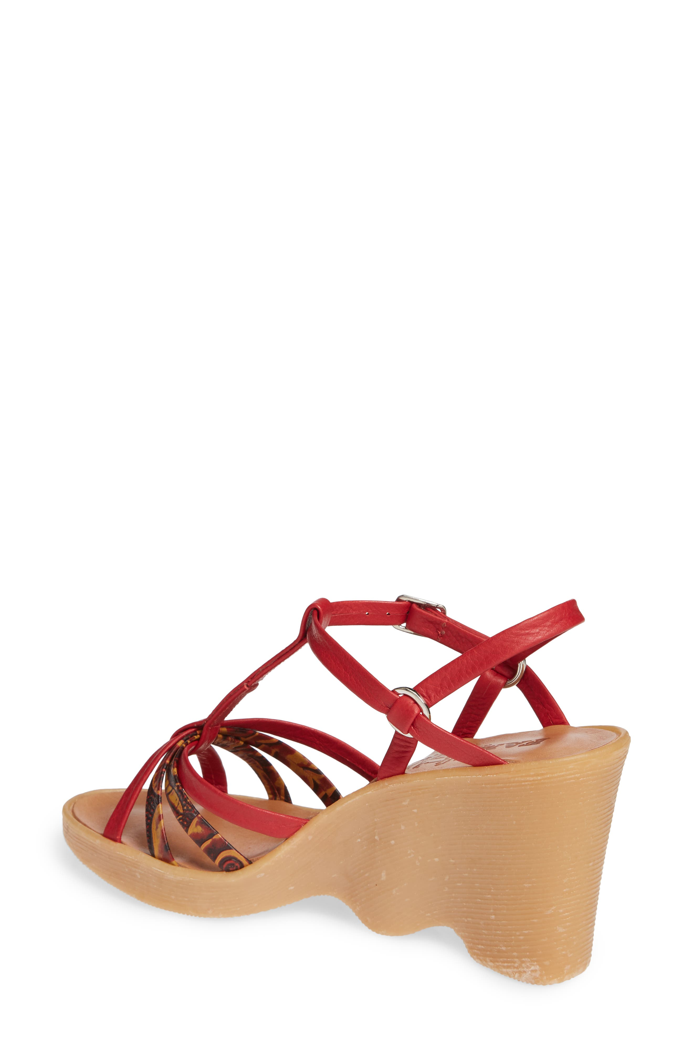 FAMOLARE,                             To a Tee Wedge Sandal,                             Alternate thumbnail 2, color,                             CORAL LEATHER