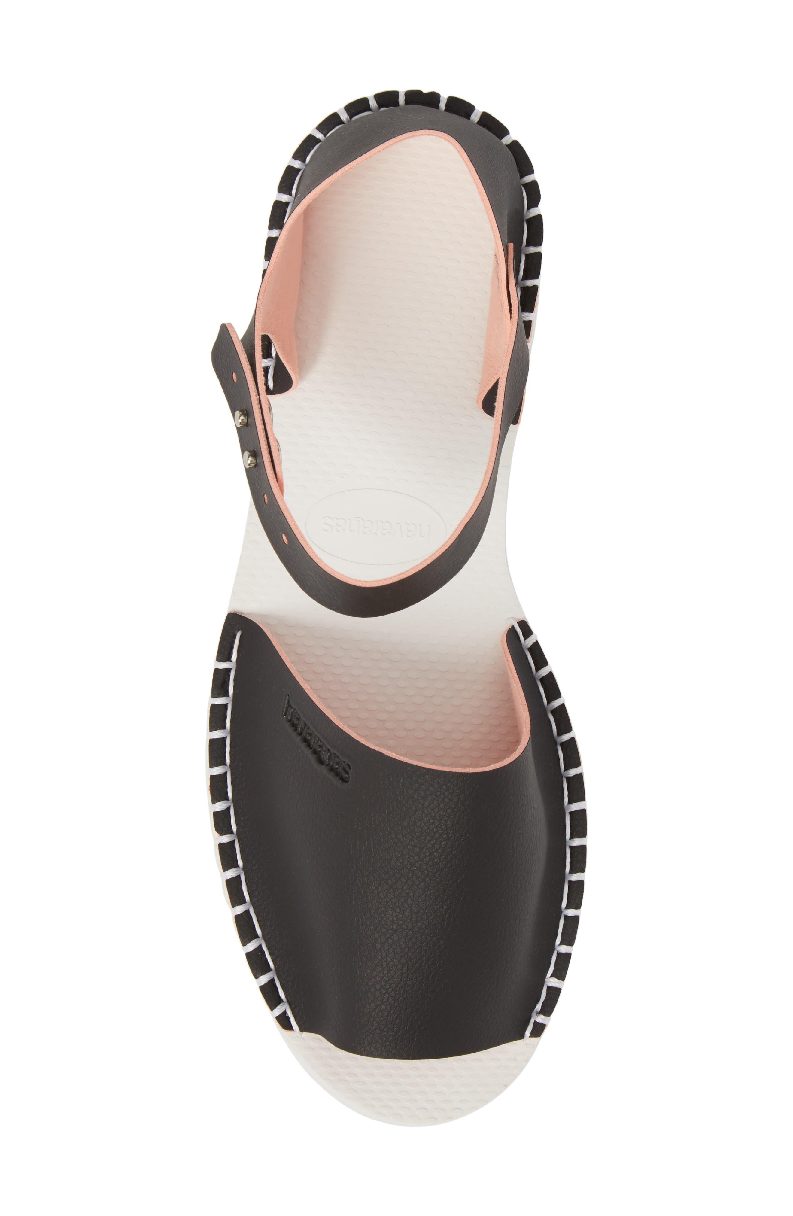 Flatform Fashion Sandal,                             Alternate thumbnail 5, color,                             BLACK/ PINK
