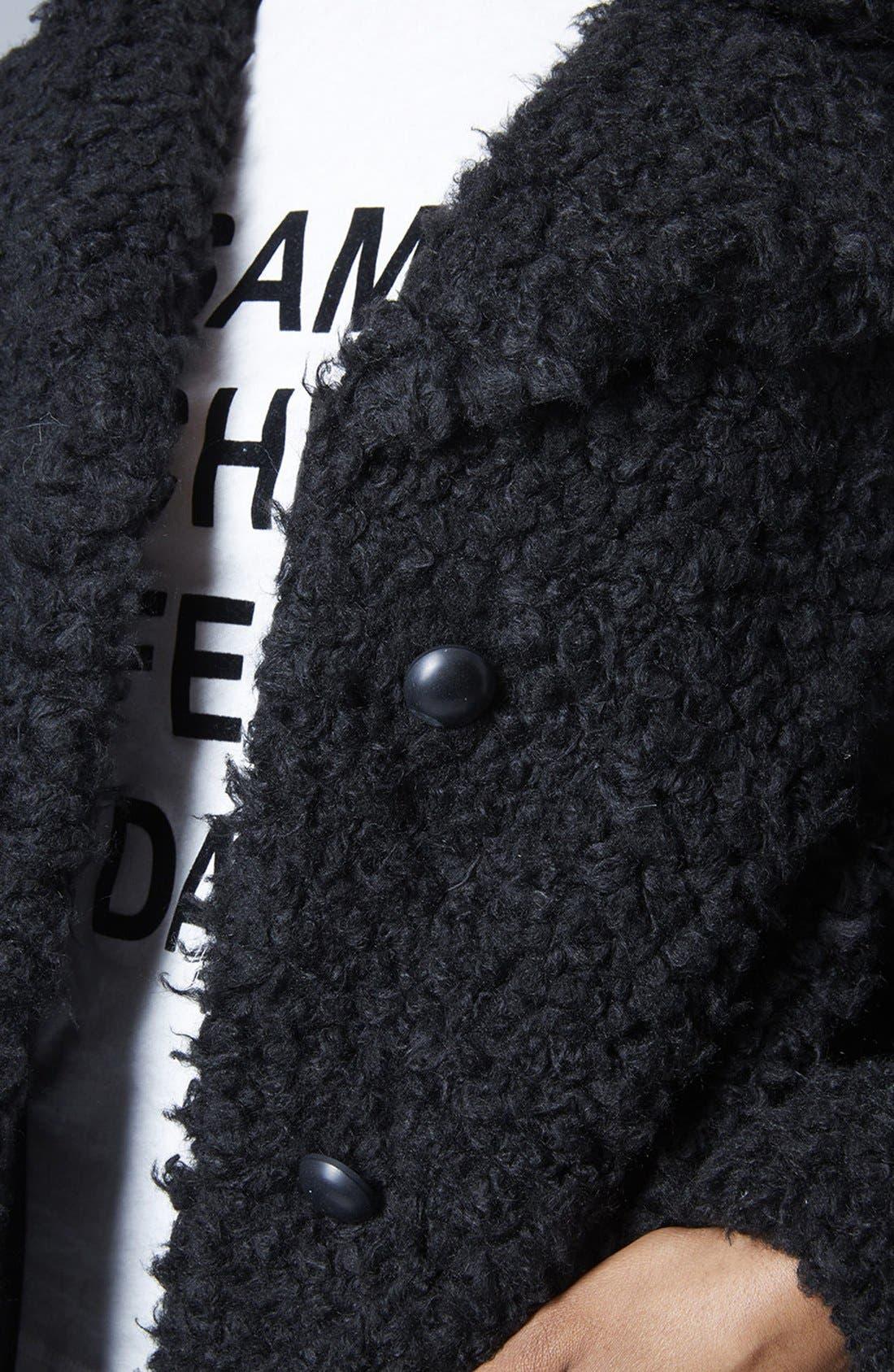 Faux Fur Car Coat,                             Alternate thumbnail 4, color,                             001