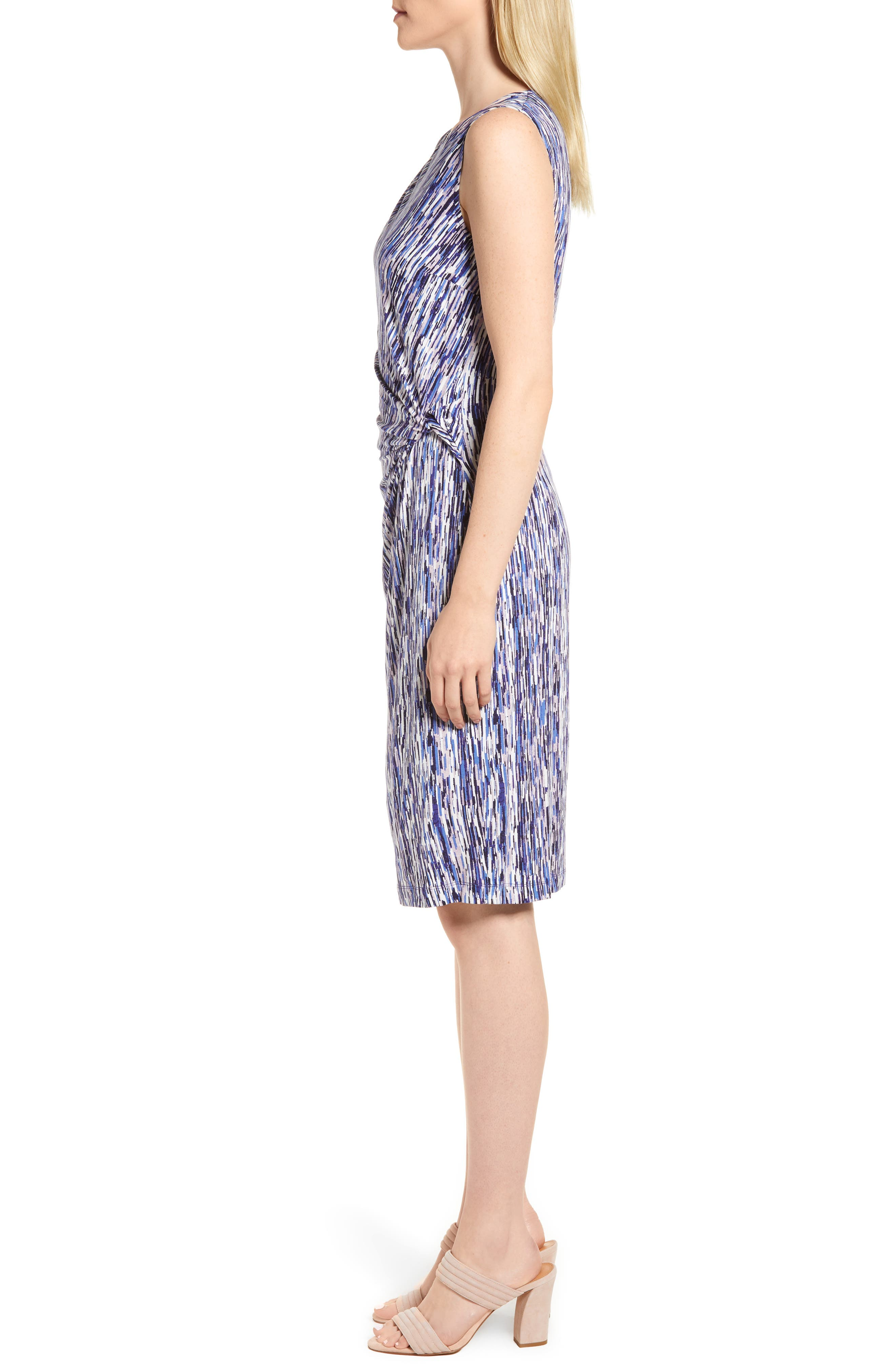Sapphire Stripe Side Twist Dress,                             Alternate thumbnail 3, color,                             490