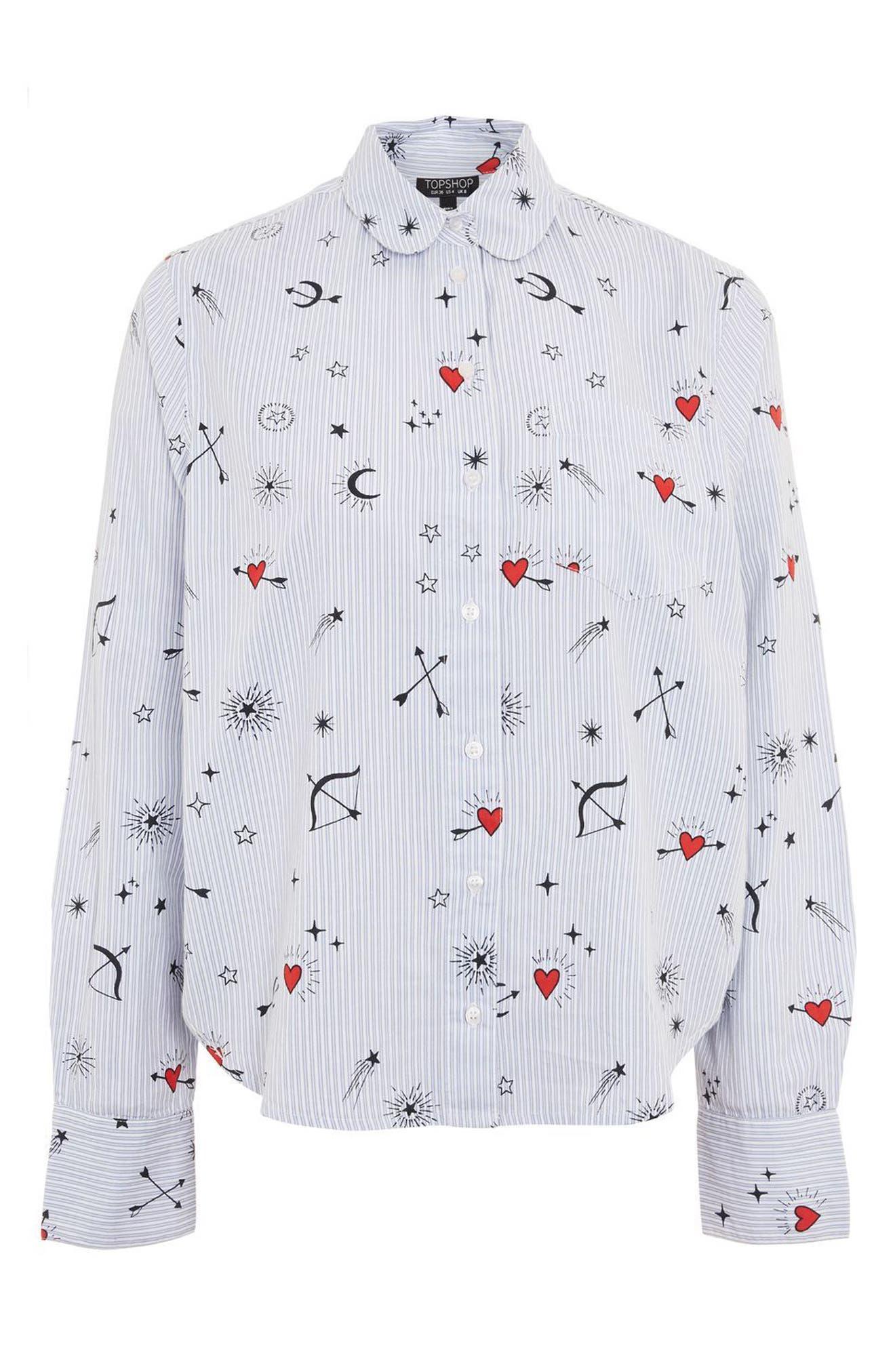 Heart Print Stripe Pajama Shirt,                             Alternate thumbnail 3, color,