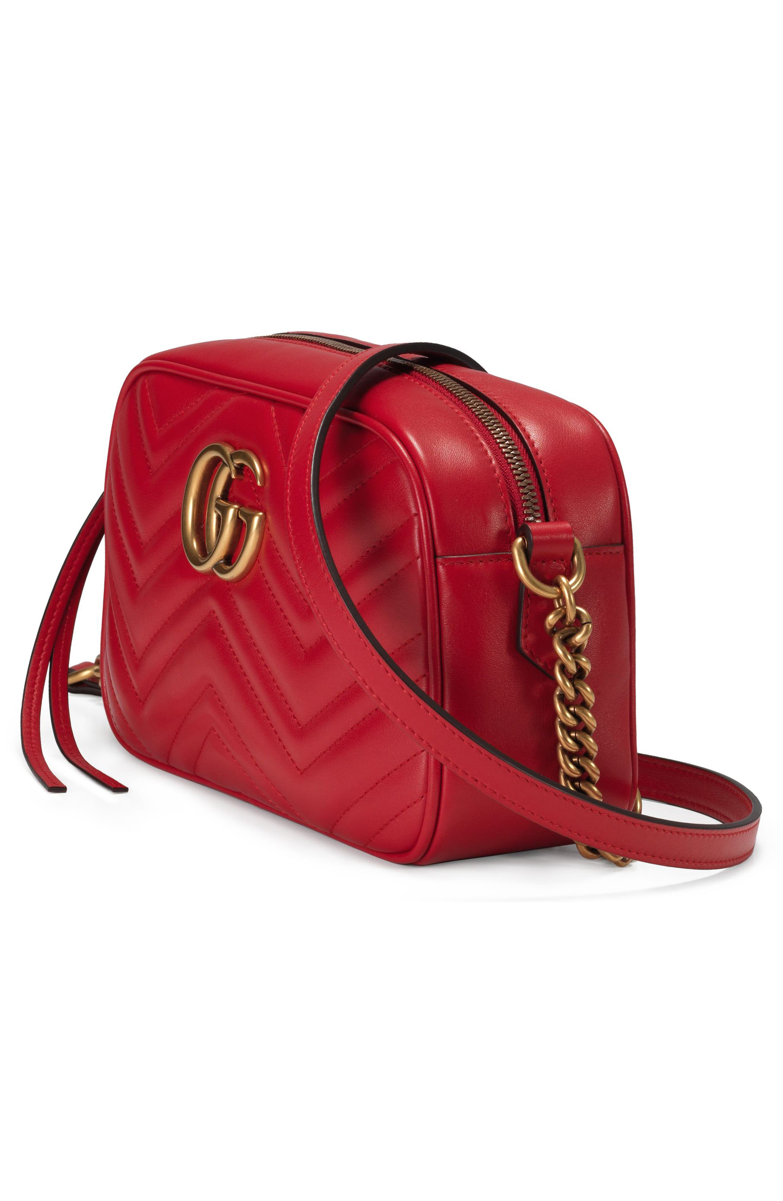 GUCCI,                             Small GG Marmont 2.0 Matelassé Leather Camera Bag,                             Alternate thumbnail 4, color,                             HIBISCUS RED/ HIBISCUS RED