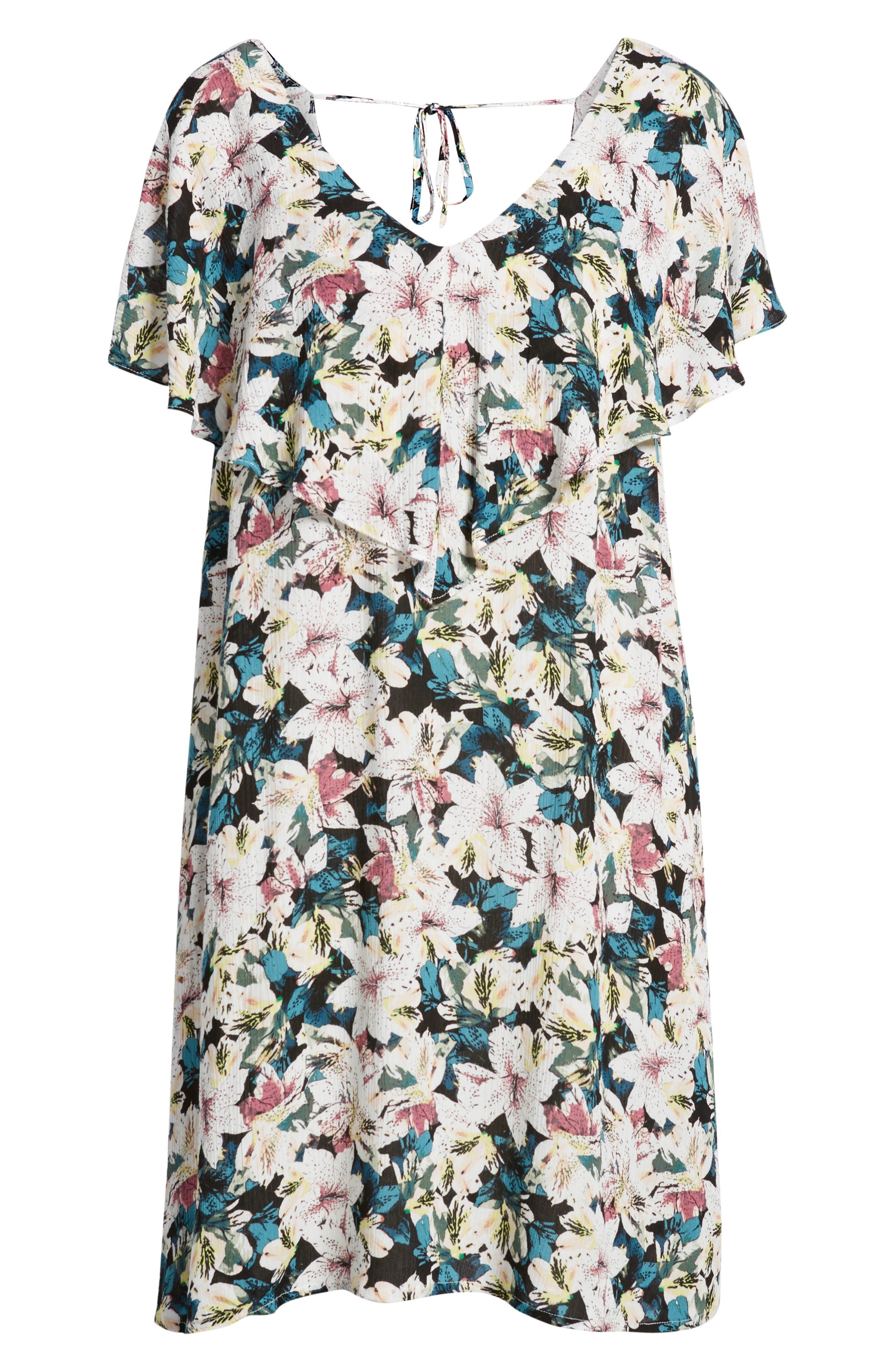 Miran Floral Print Woven Dress,                             Alternate thumbnail 4, color,                             100