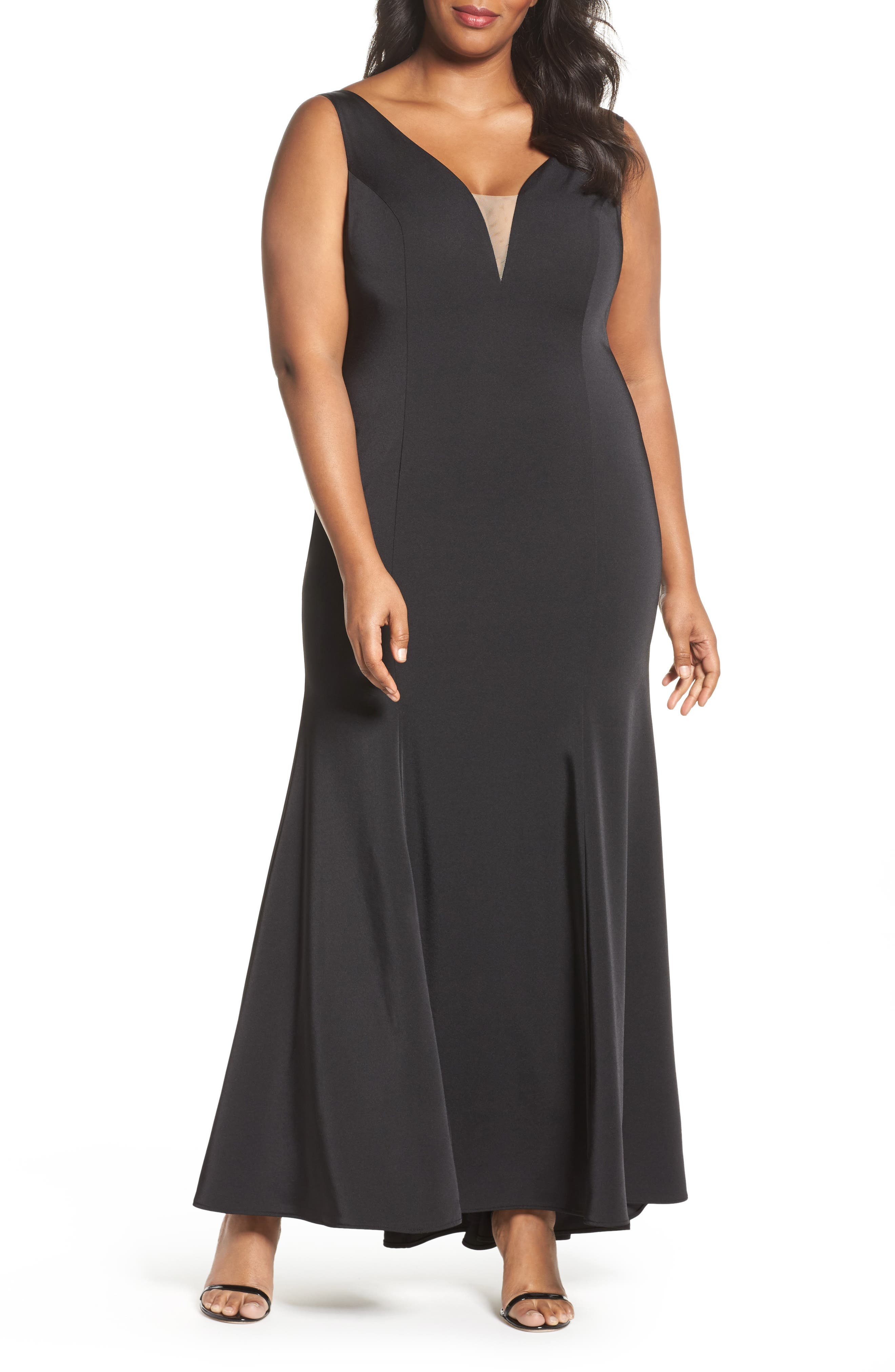 Illusion Neck Mermaid Gown,                         Main,                         color, 001