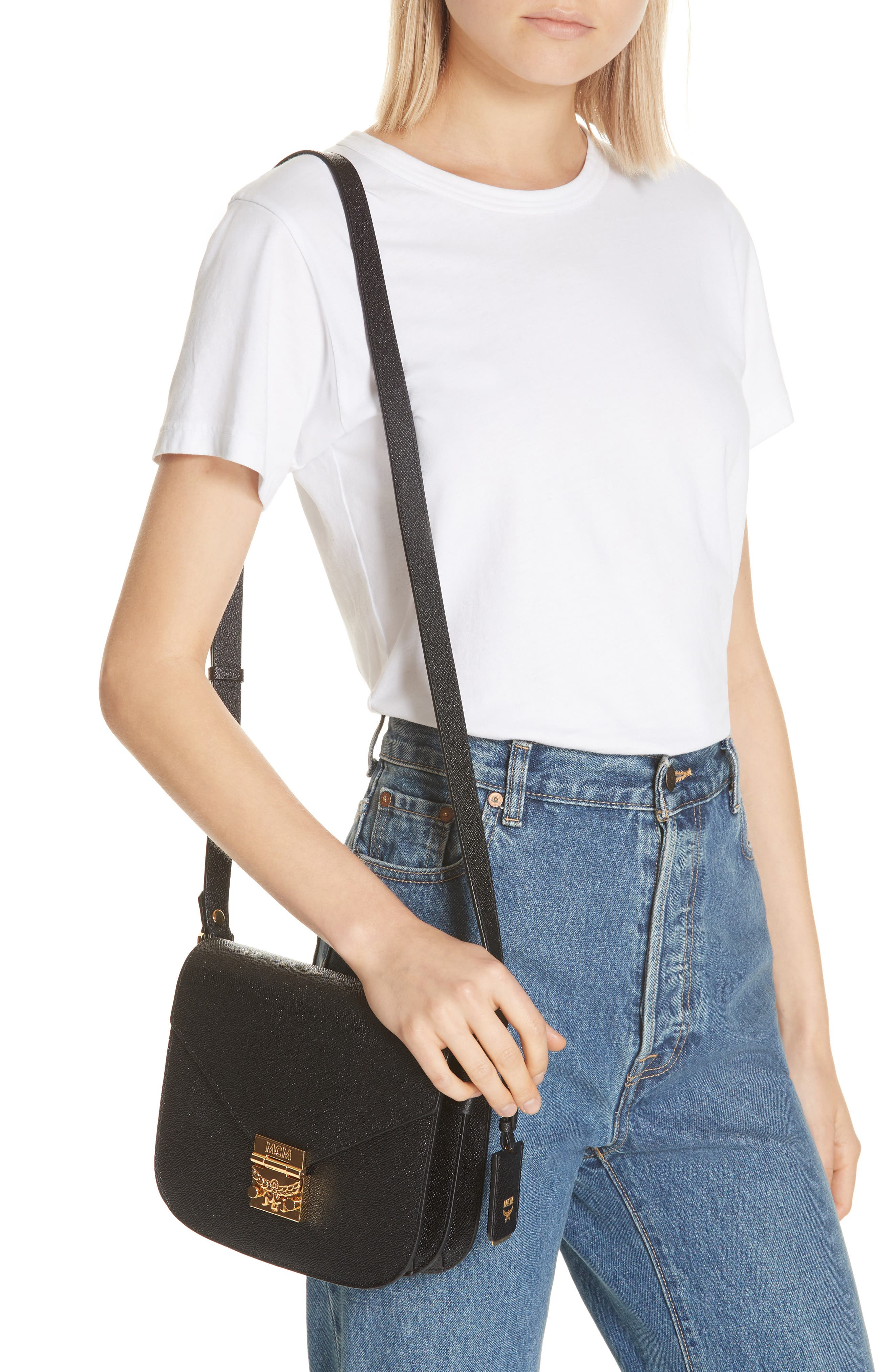 Small RGB Leather Shoulder Bag,                             Alternate thumbnail 2, color,                             BLACK