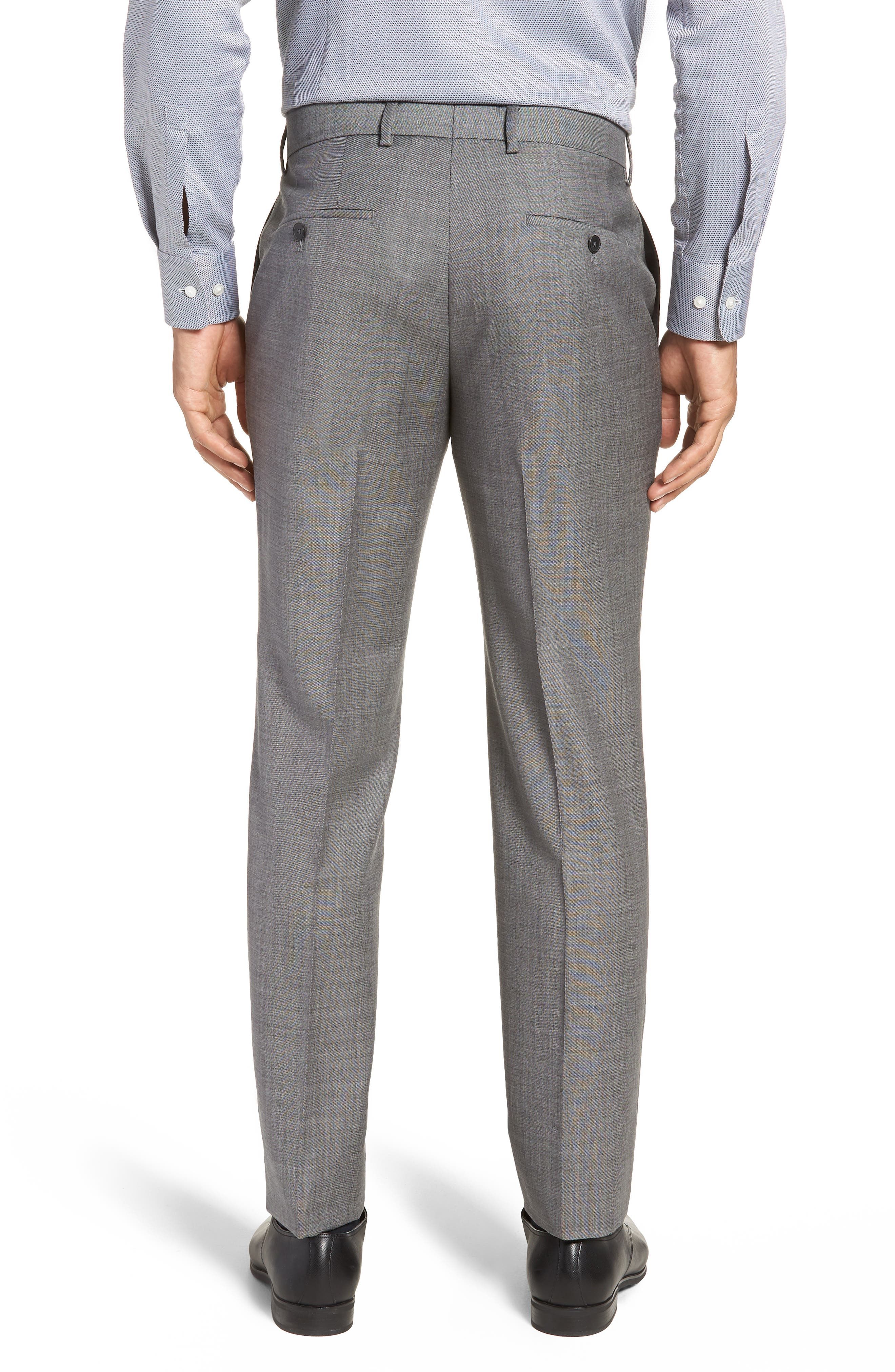 Genesis Flat Front Solid Wool Trousers,                             Alternate thumbnail 2, color,                             GREY