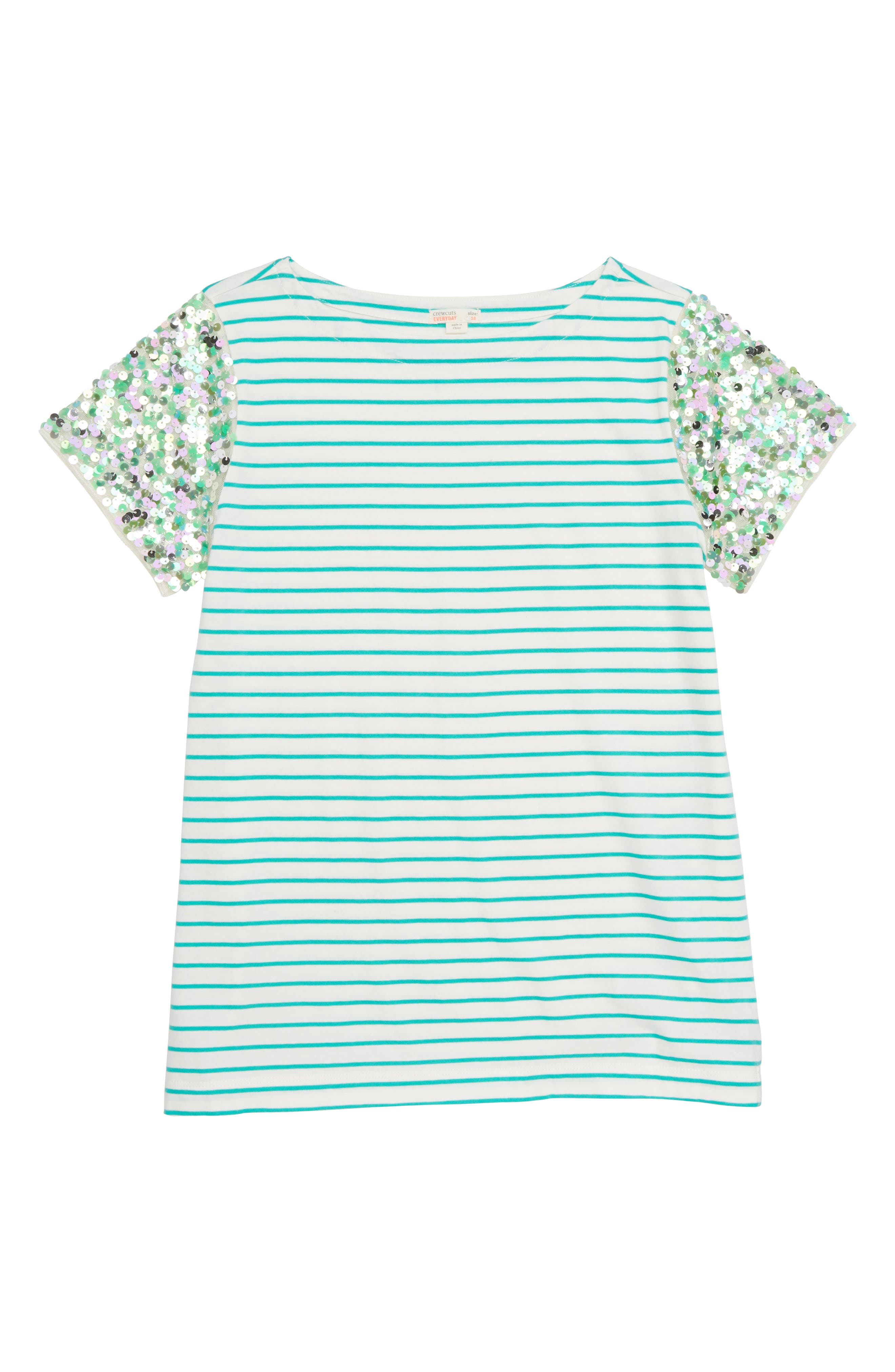 Stripe Sequin Sleeve T-Shirt,                             Main thumbnail 1, color,                             CASTLE ROCK