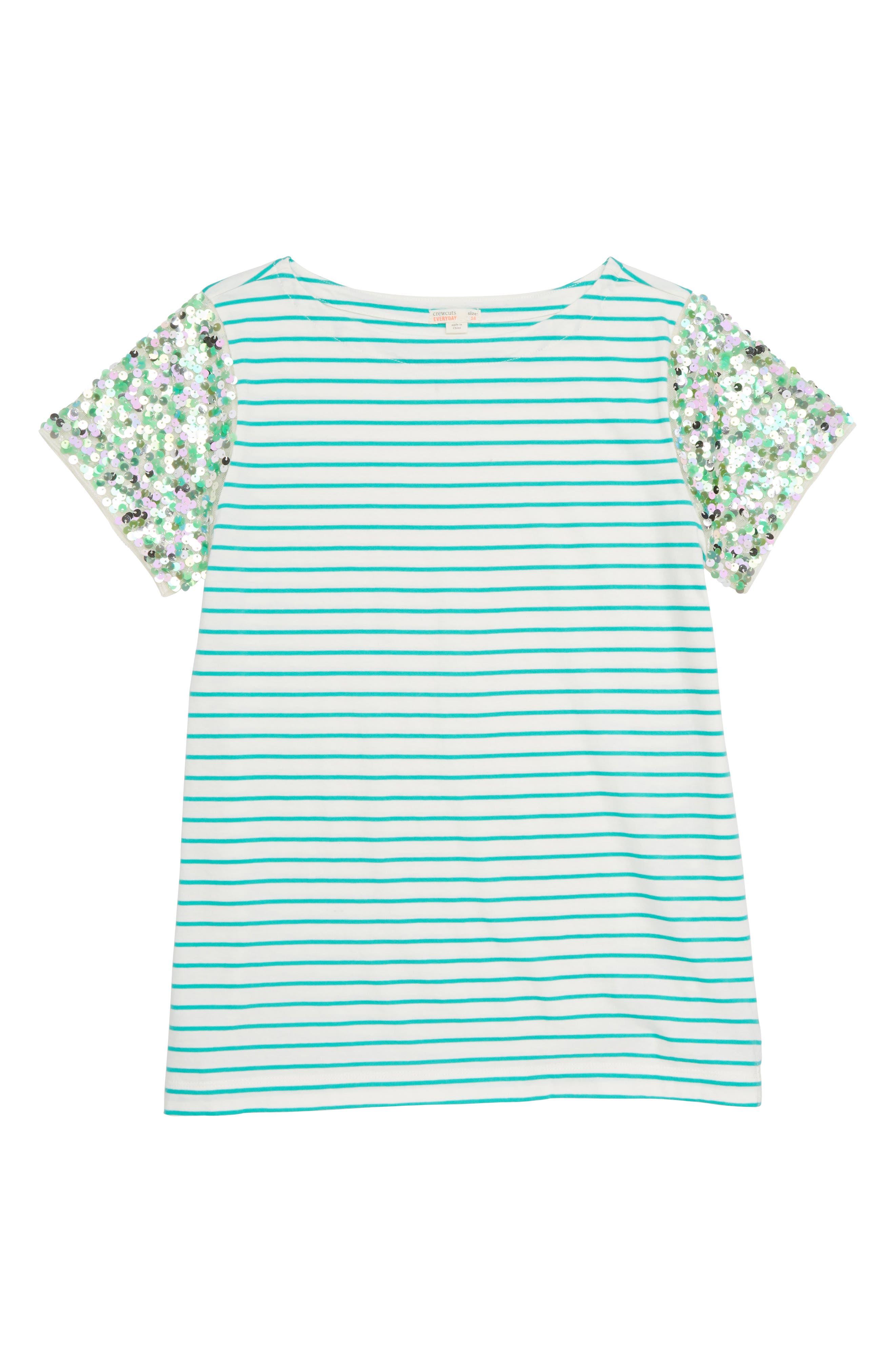 Stripe Sequin Sleeve T-Shirt,                         Main,                         color, CASTLE ROCK
