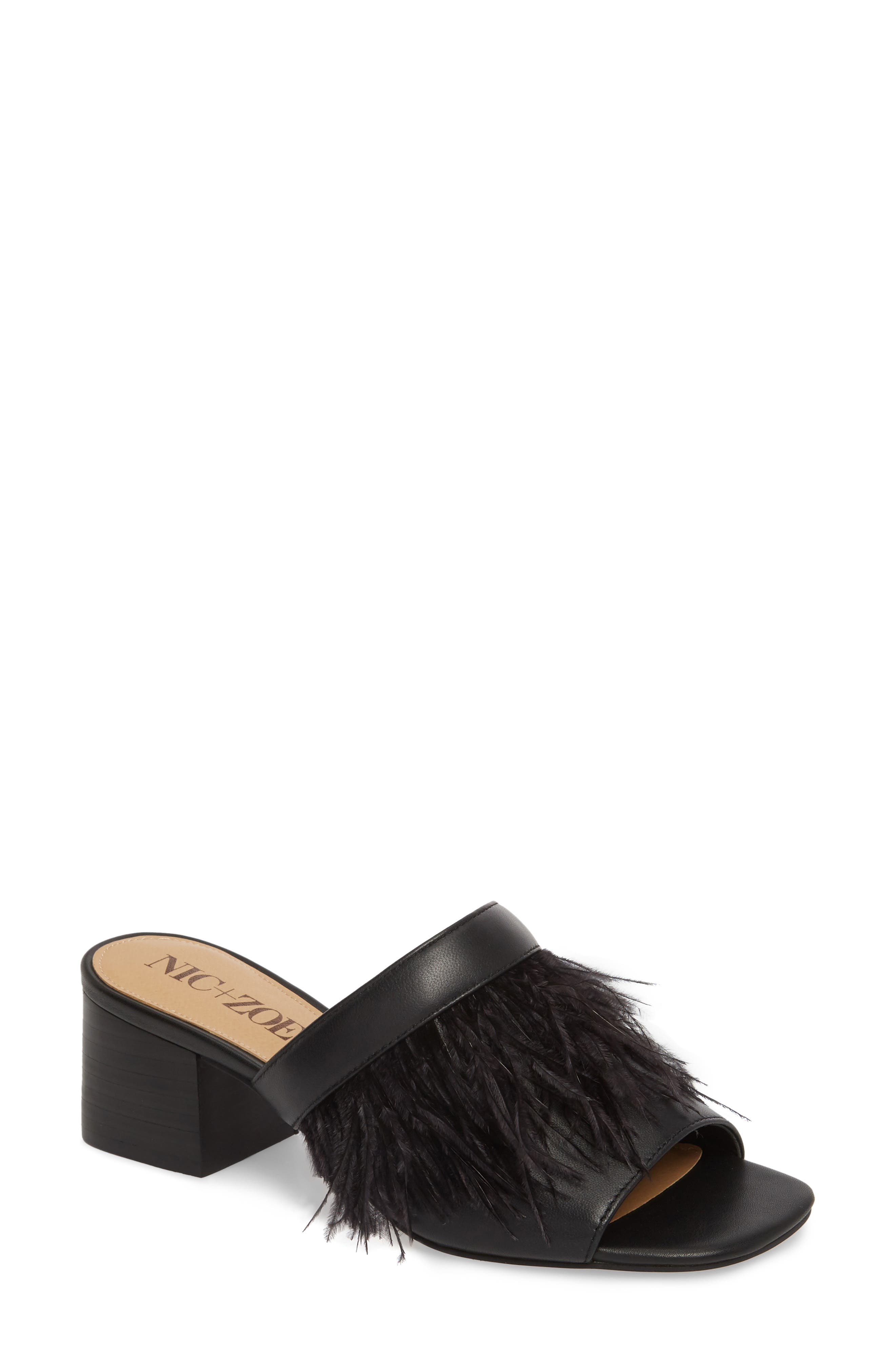 NIC + ZOE Feather Mule,                             Main thumbnail 1, color,                             BLACK LEATHER