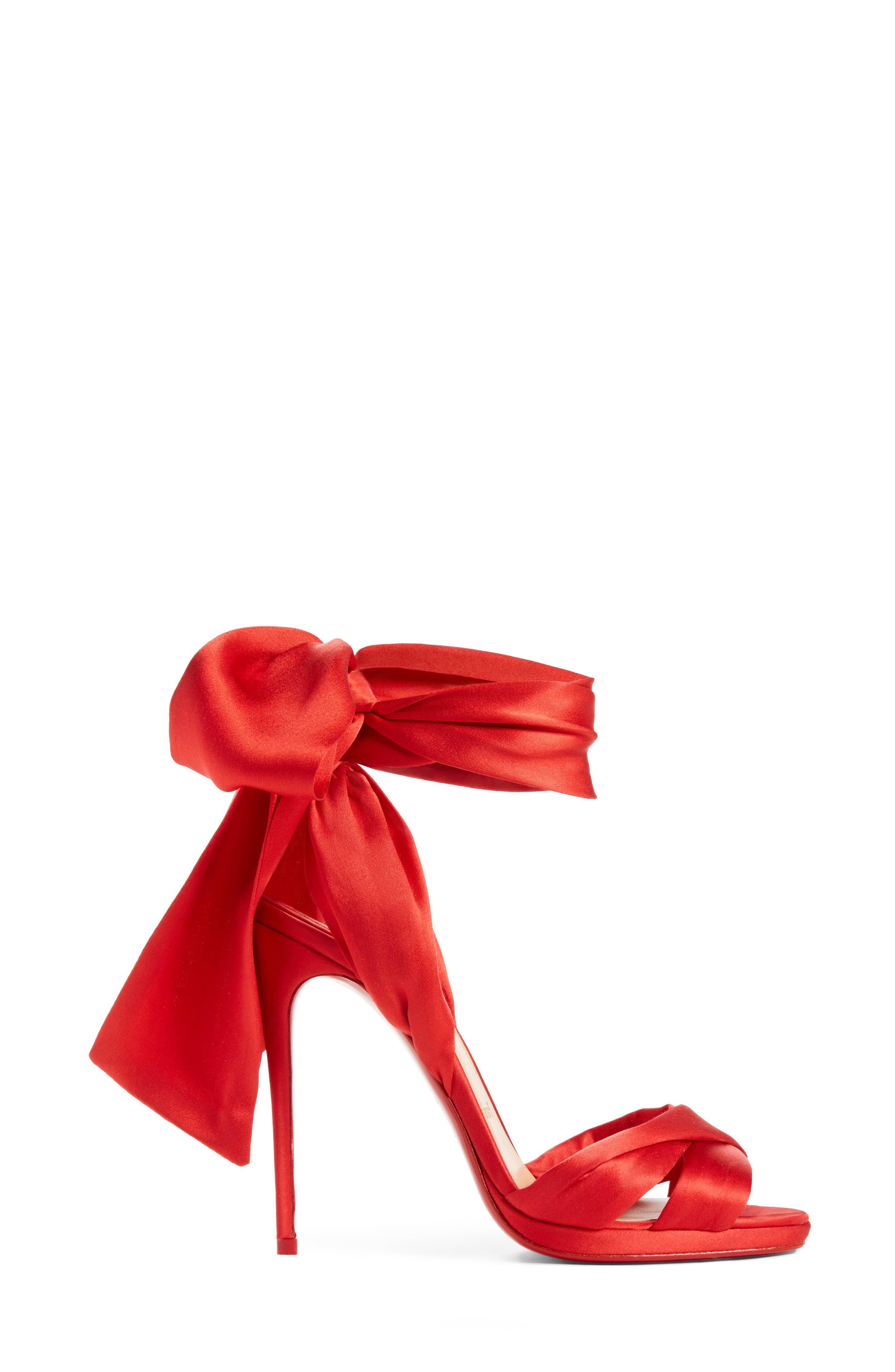 Très Frais Ankle Wrap Sandal,                             Alternate thumbnail 3, color,                             RED