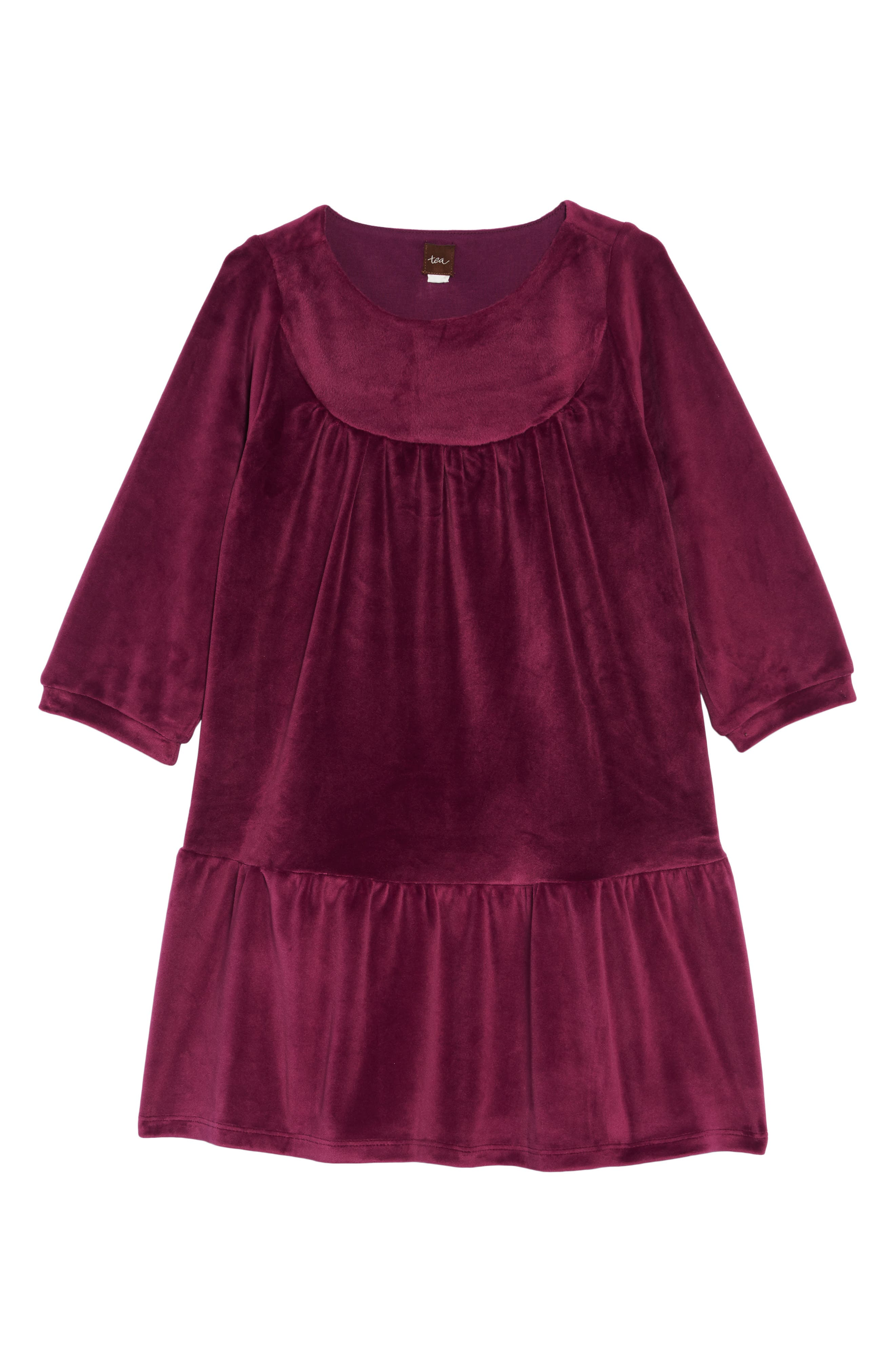 Velour Ruffle Dress,                         Main,                         color, COSMIC BERRY