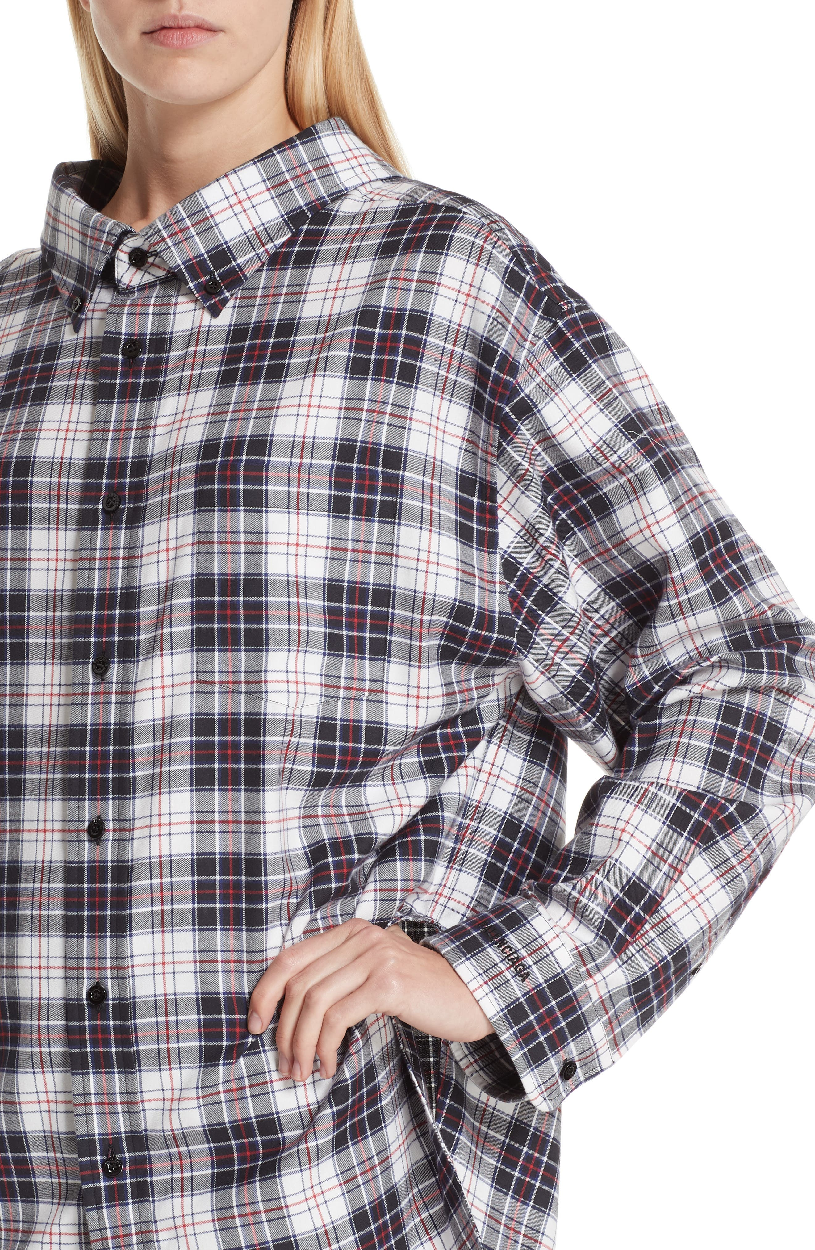Swing Plaid Flannel Shirt,                             Alternate thumbnail 4, color,                             120