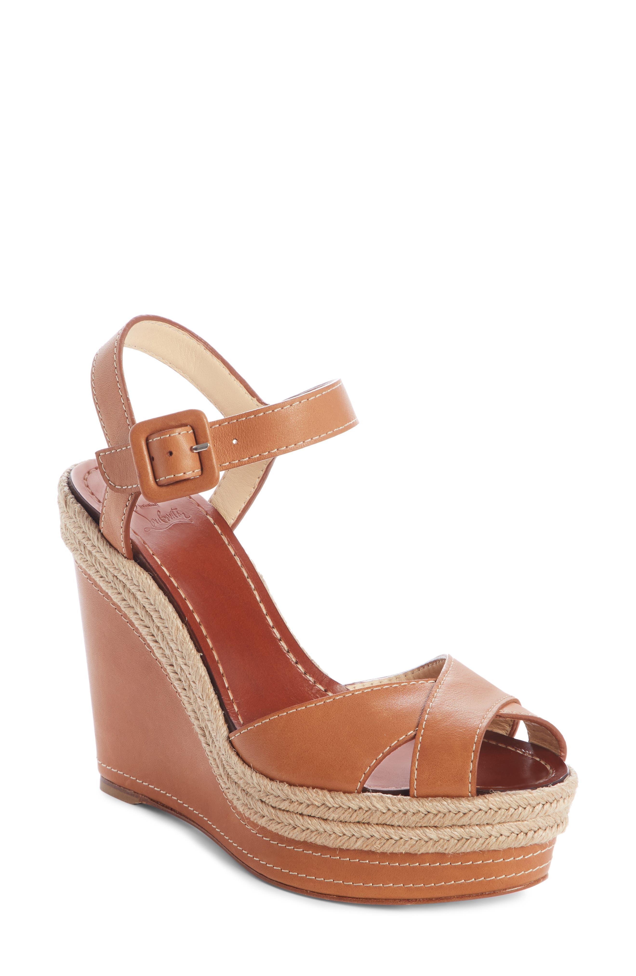 Almeria 120 Espadrille Wedge Sandals in Cuoio Brown