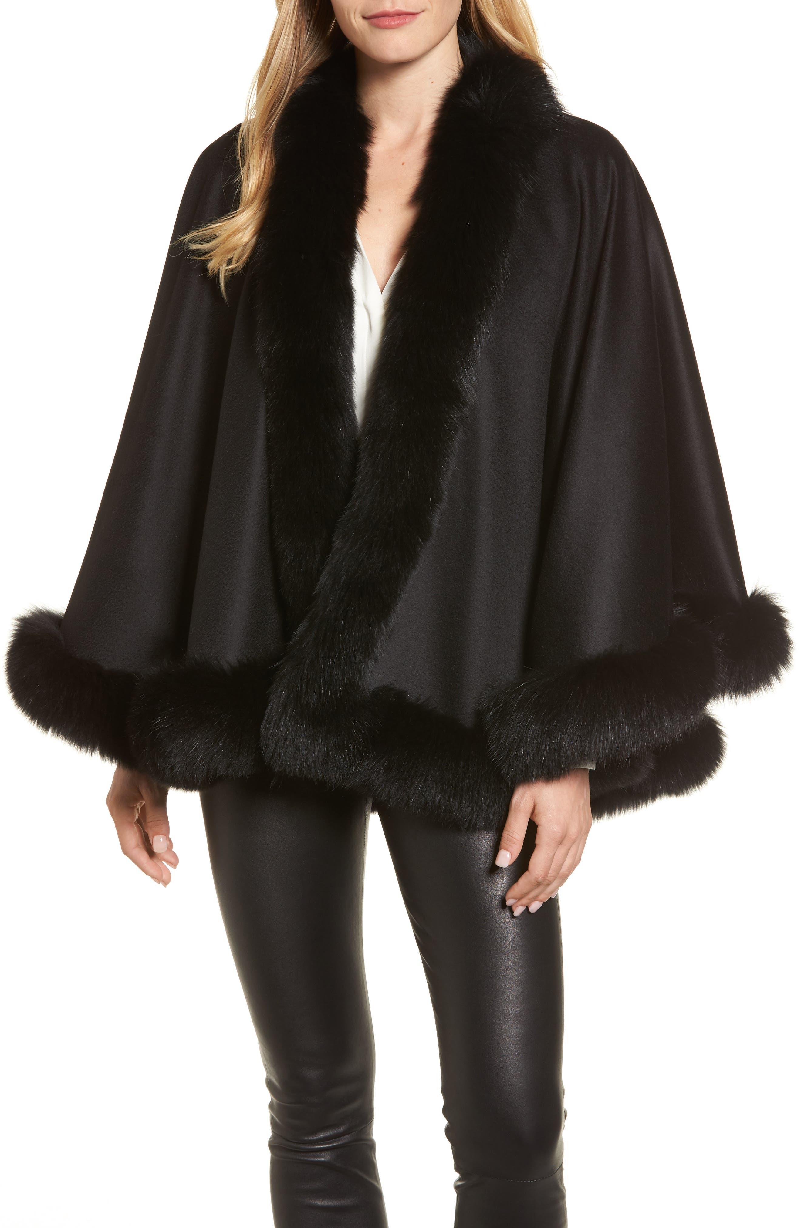 Genuine Fox Fur Trim Short Cashmere Cape,                             Main thumbnail 1, color,