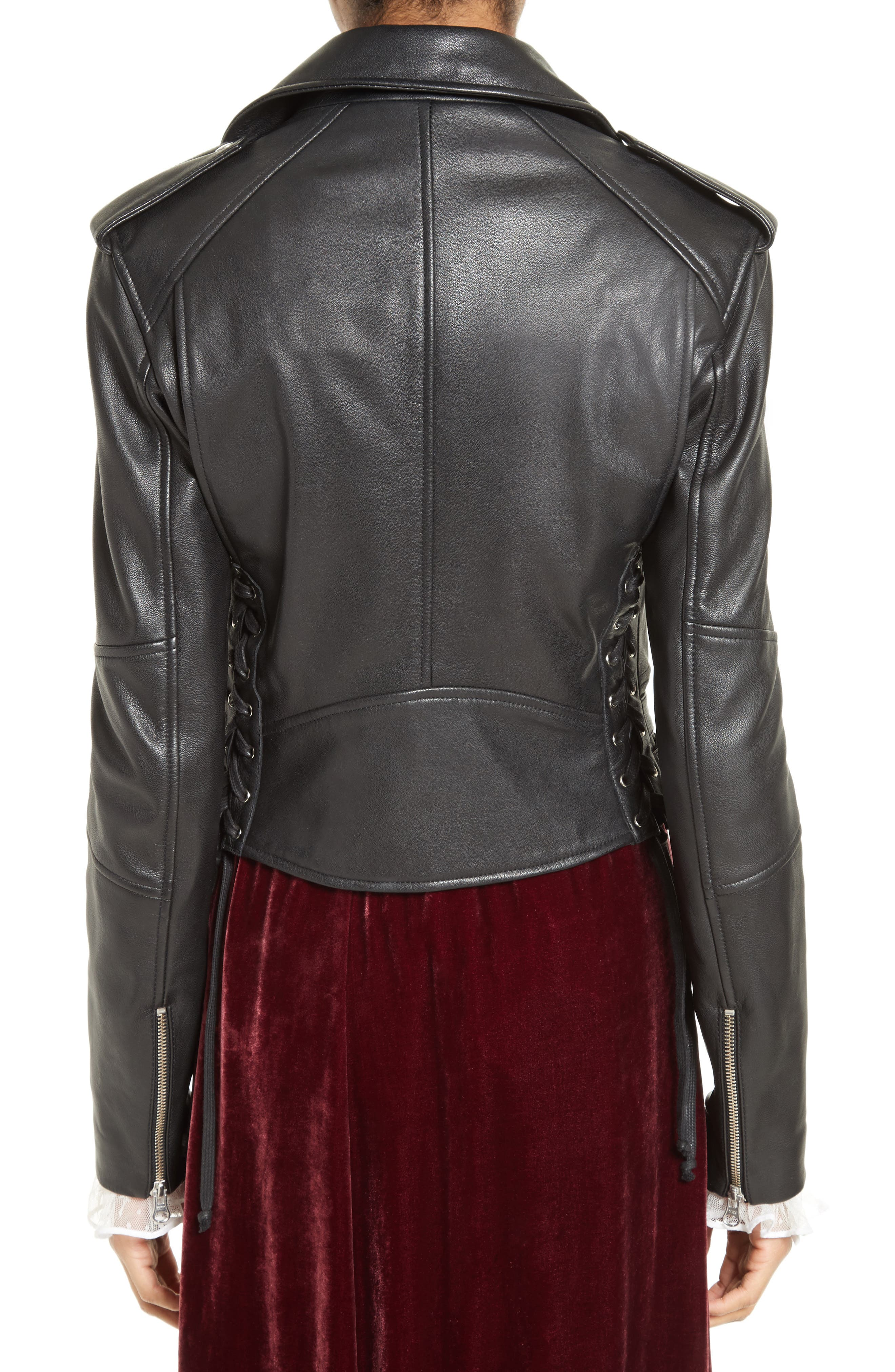 Lace-Up Leather Jacket,                             Alternate thumbnail 2, color,                             001