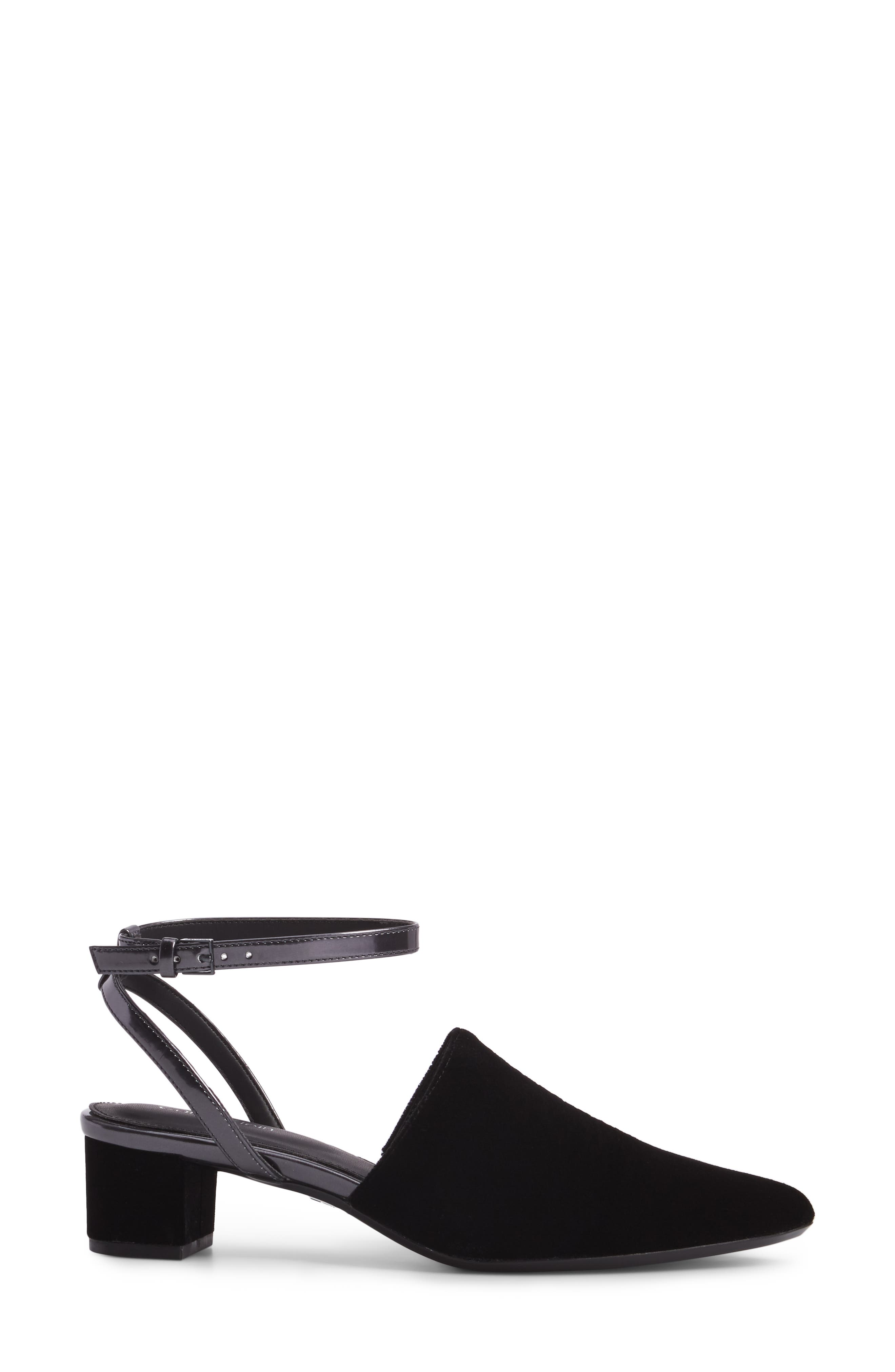 Ginetta Ankle Strap Pump,                             Alternate thumbnail 3, color,                             001