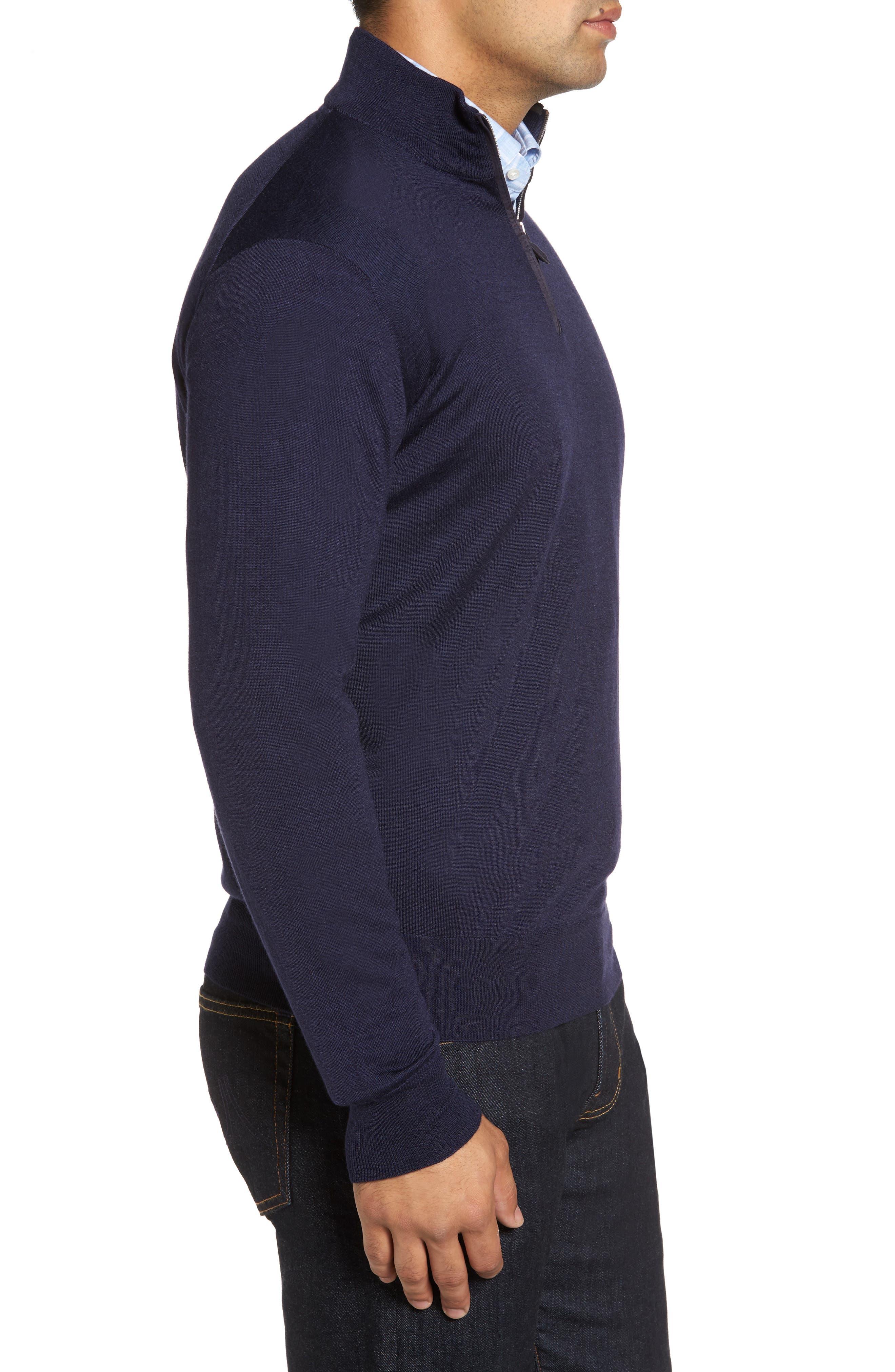 Wool Blend Quarter Zip Sweater,                             Alternate thumbnail 6, color,