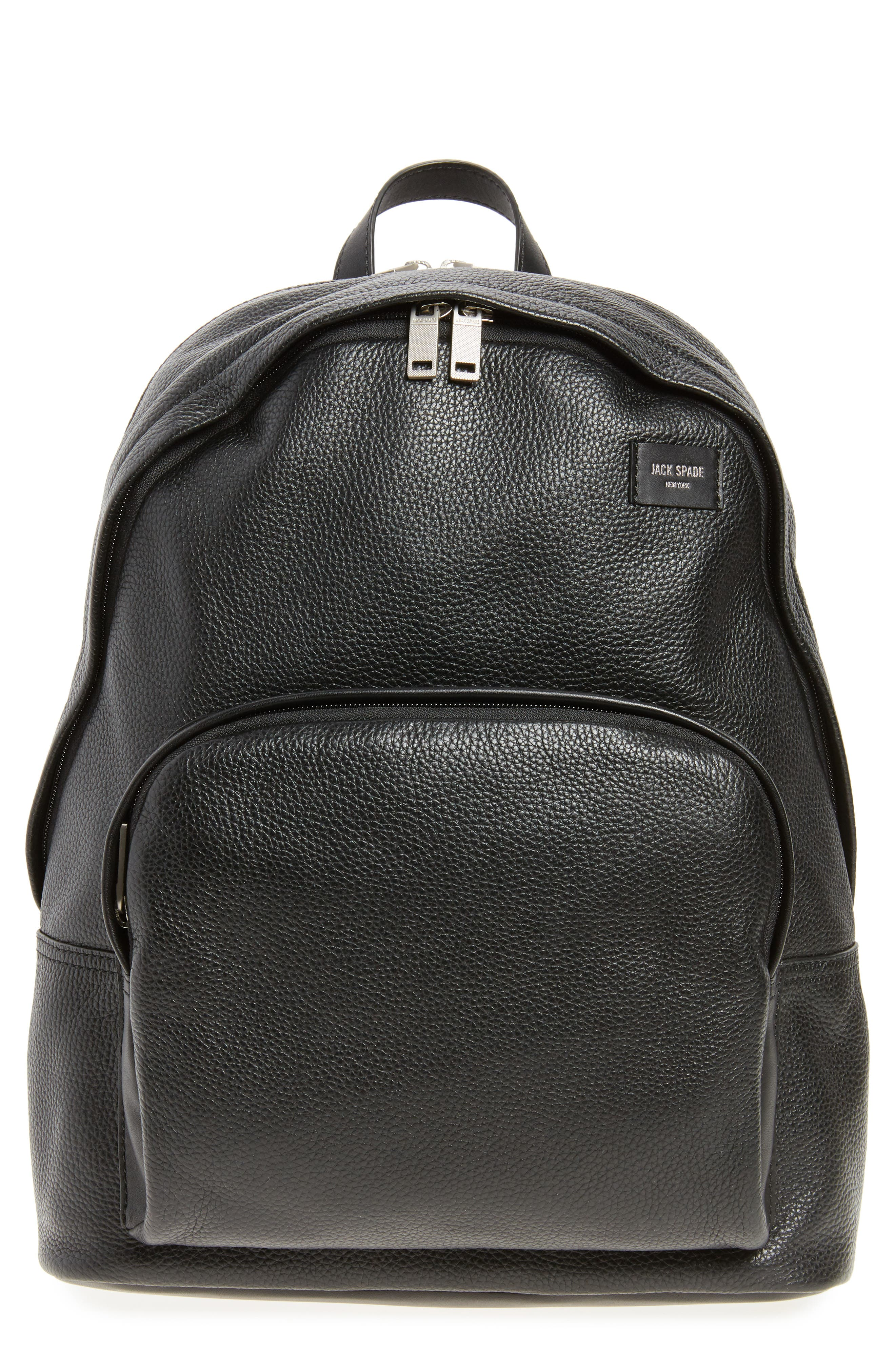Pebbled Leather Backpack,                         Main,                         color, 001
