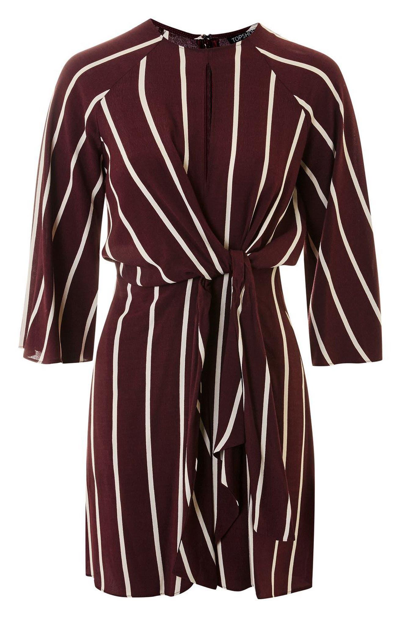 Stripe Knot Front Minidress,                             Alternate thumbnail 6, color,